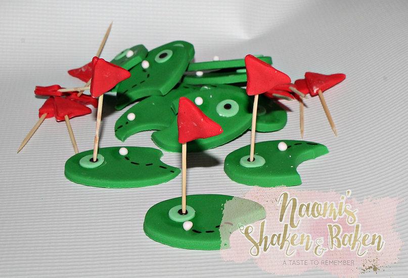 12x Edible Golf Course Fondant Cupcake Toppers Ship Australia Wide