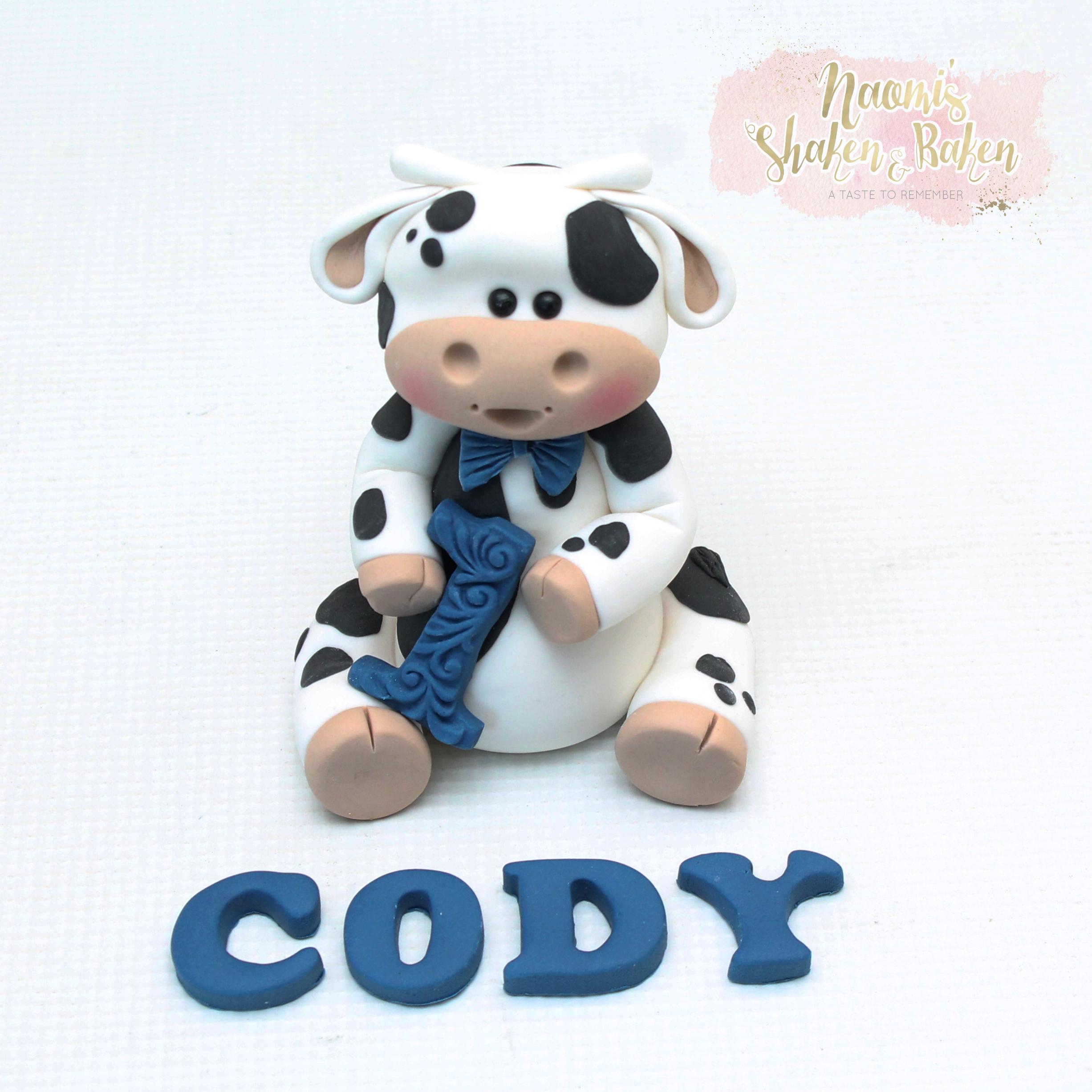 Edible Boy Cow Cake Topper Set 1st Birthday