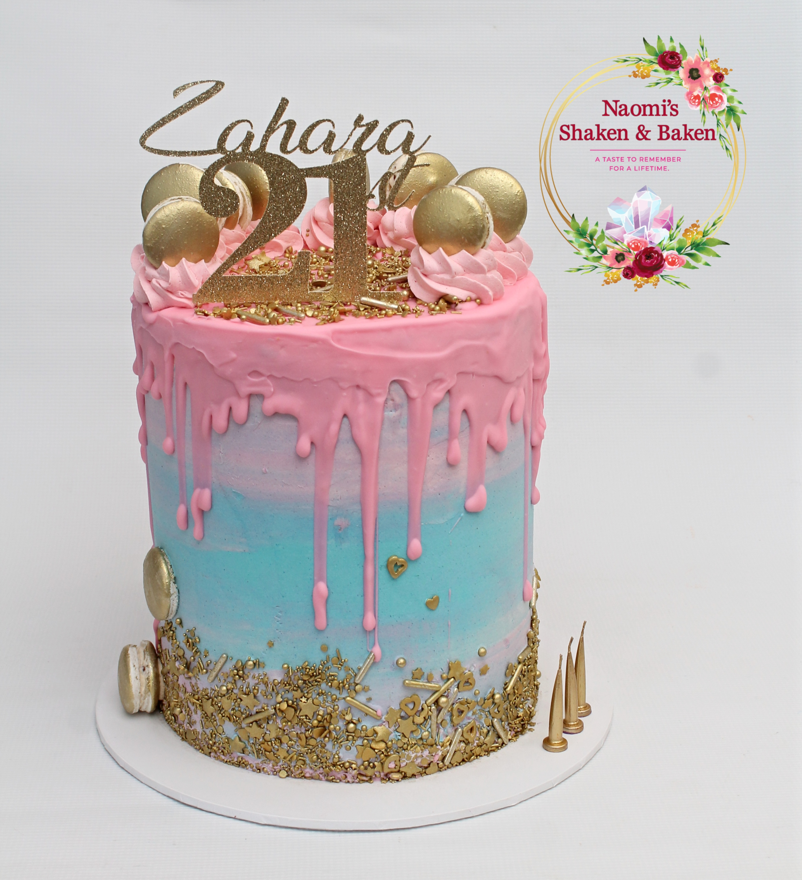 21st Drip Cake Macarons Caboolture