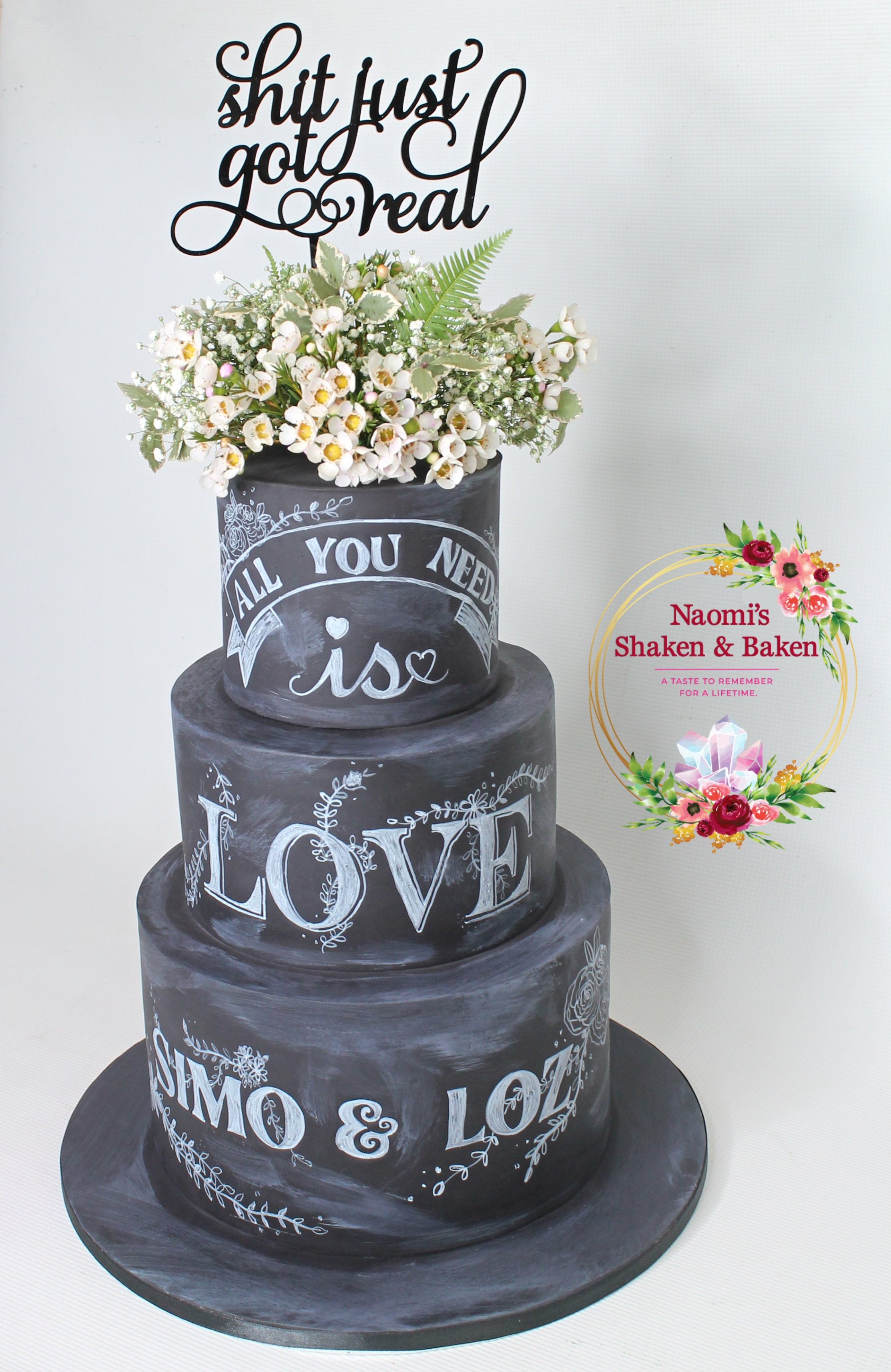 Engagement Cake Sandstone point Bribie Island Chalk Board Effect