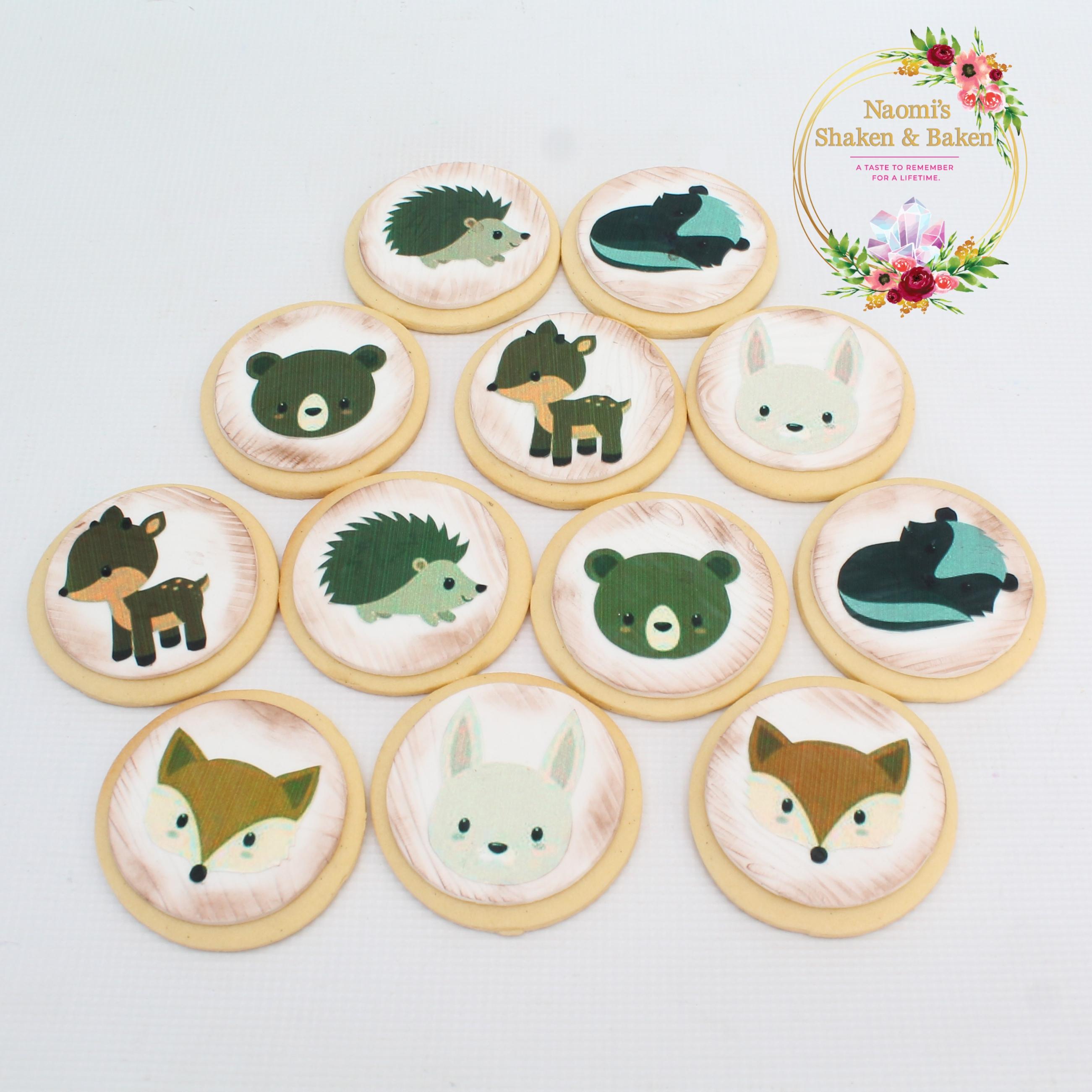 Printed Edible Image Woodland Animal Cookies