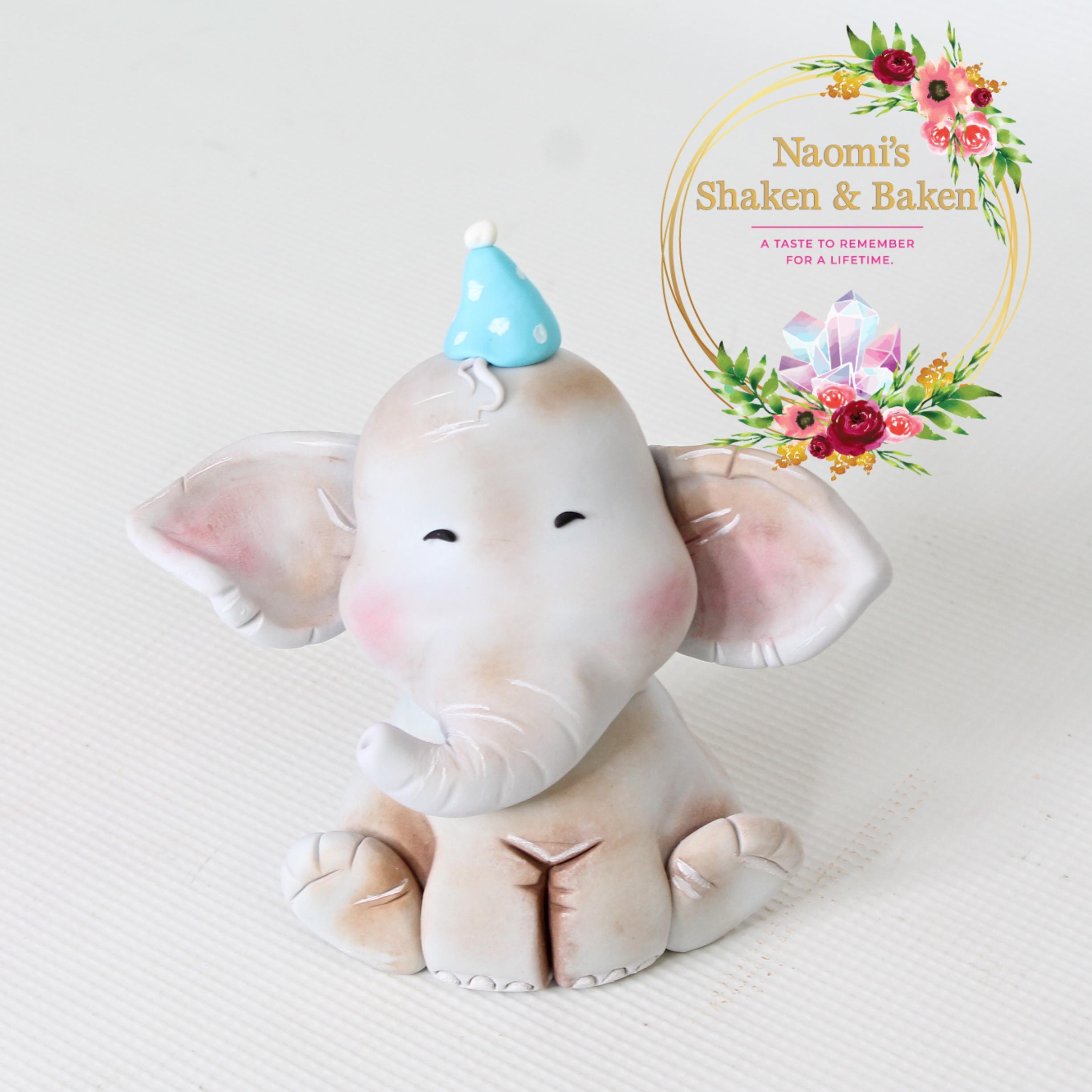 Cute Jumbo Elephant Fondant Cake Topper