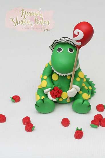 3D Handmade Edible Girl Dinosaur Fondant Cake Topper Set Ship Australia Wide