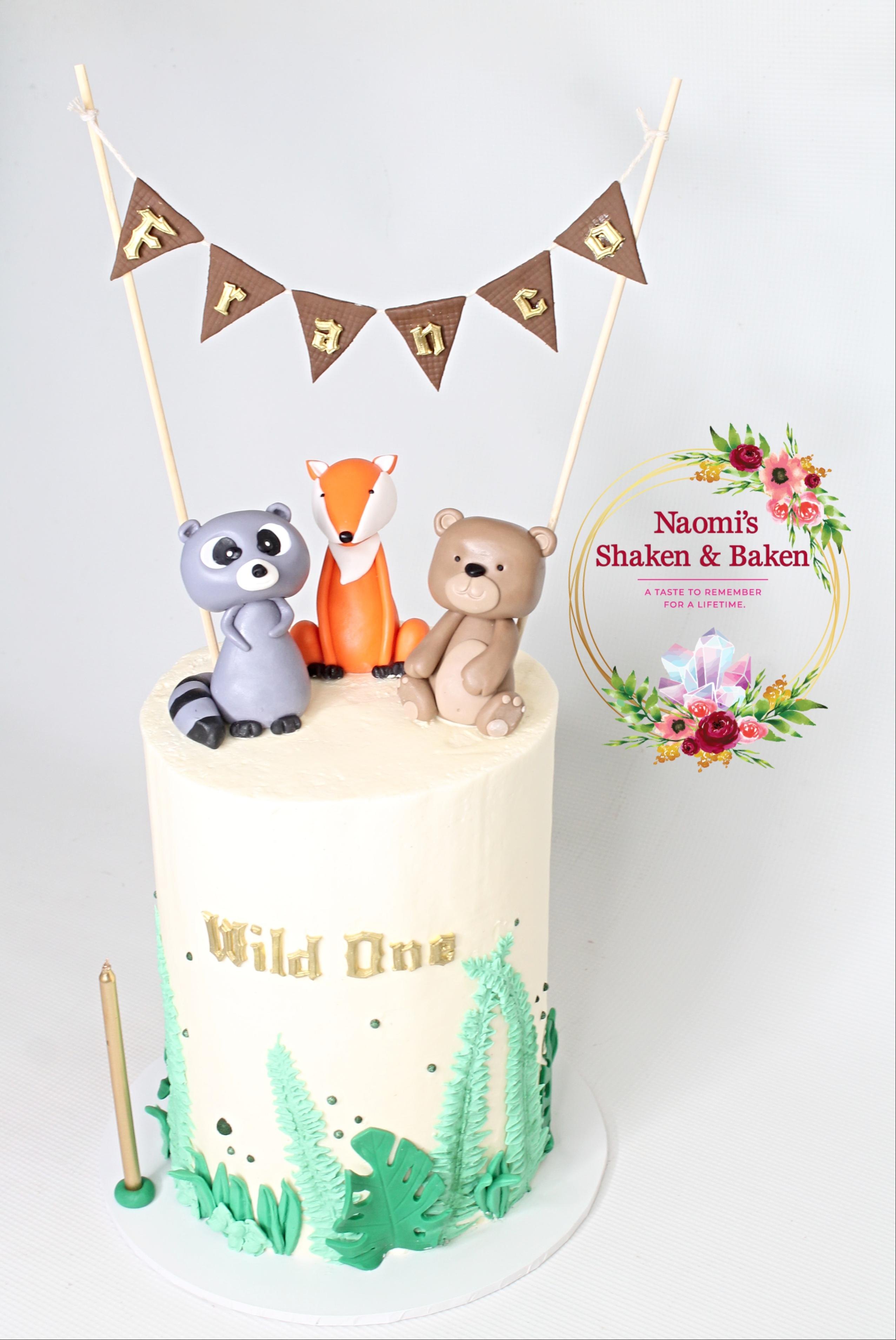 Wild One Woodland Birthday Cake Caboolture