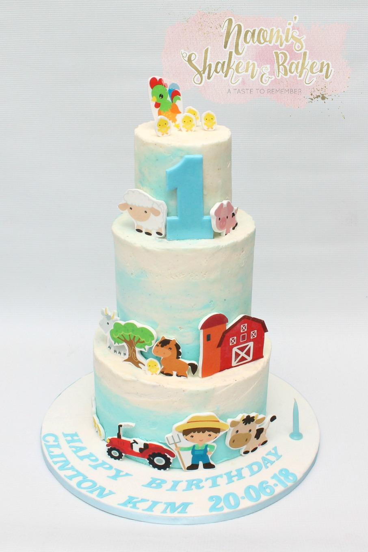 1st birthday farm cake