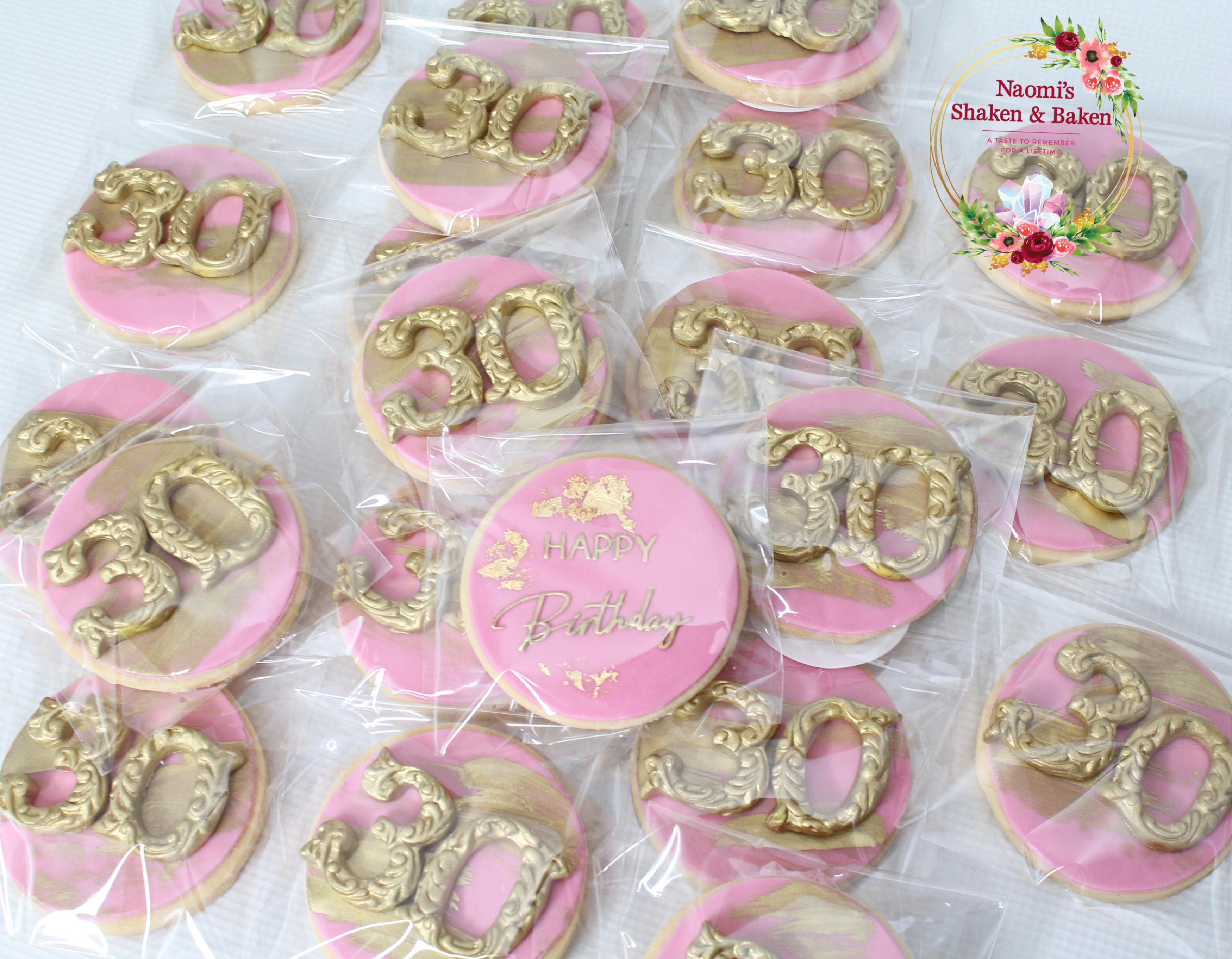 "3"" Pink & Gold 30th Birthday Vanilla Bean Cookies"