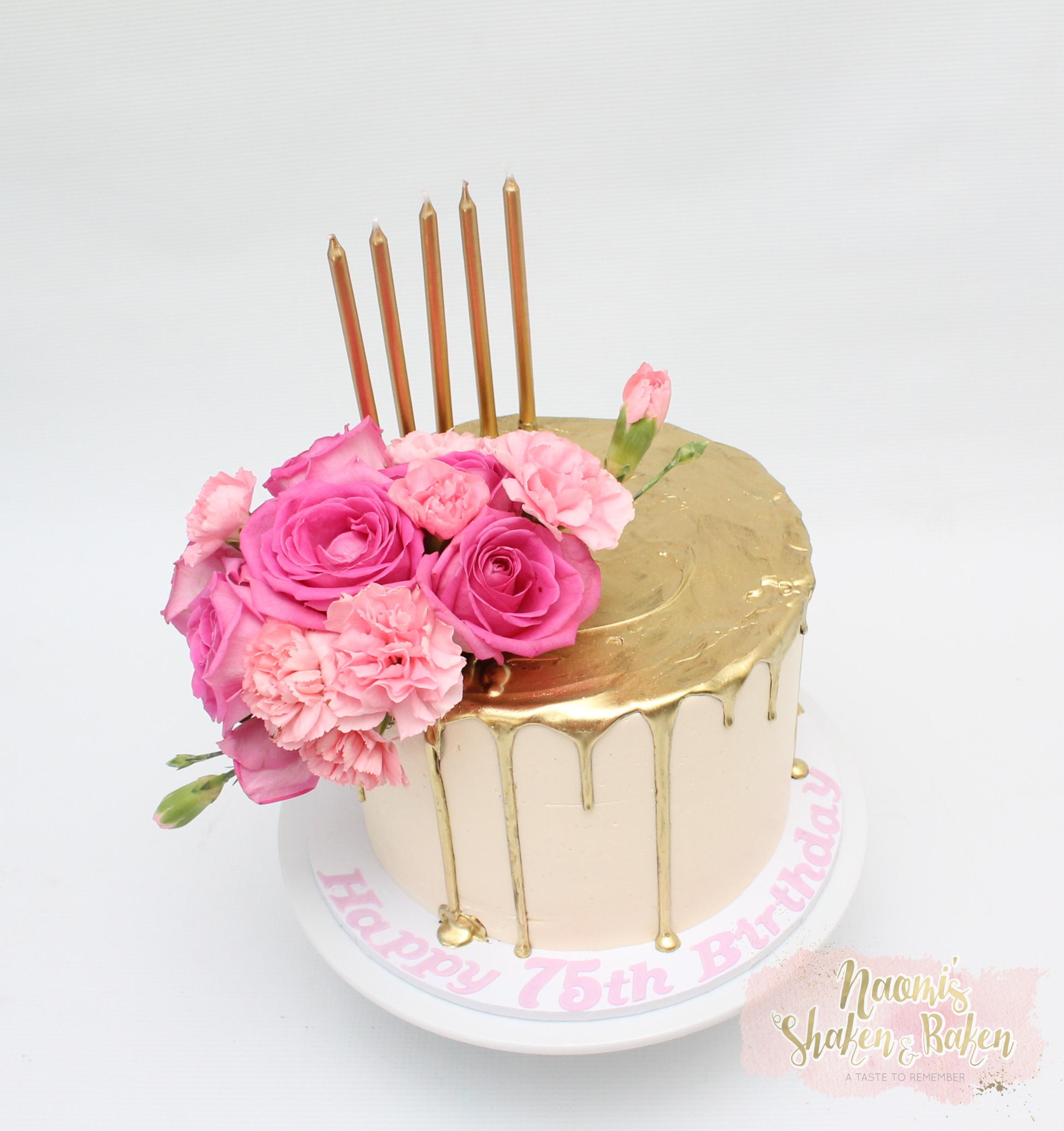 Gold drip birthday cake 70th