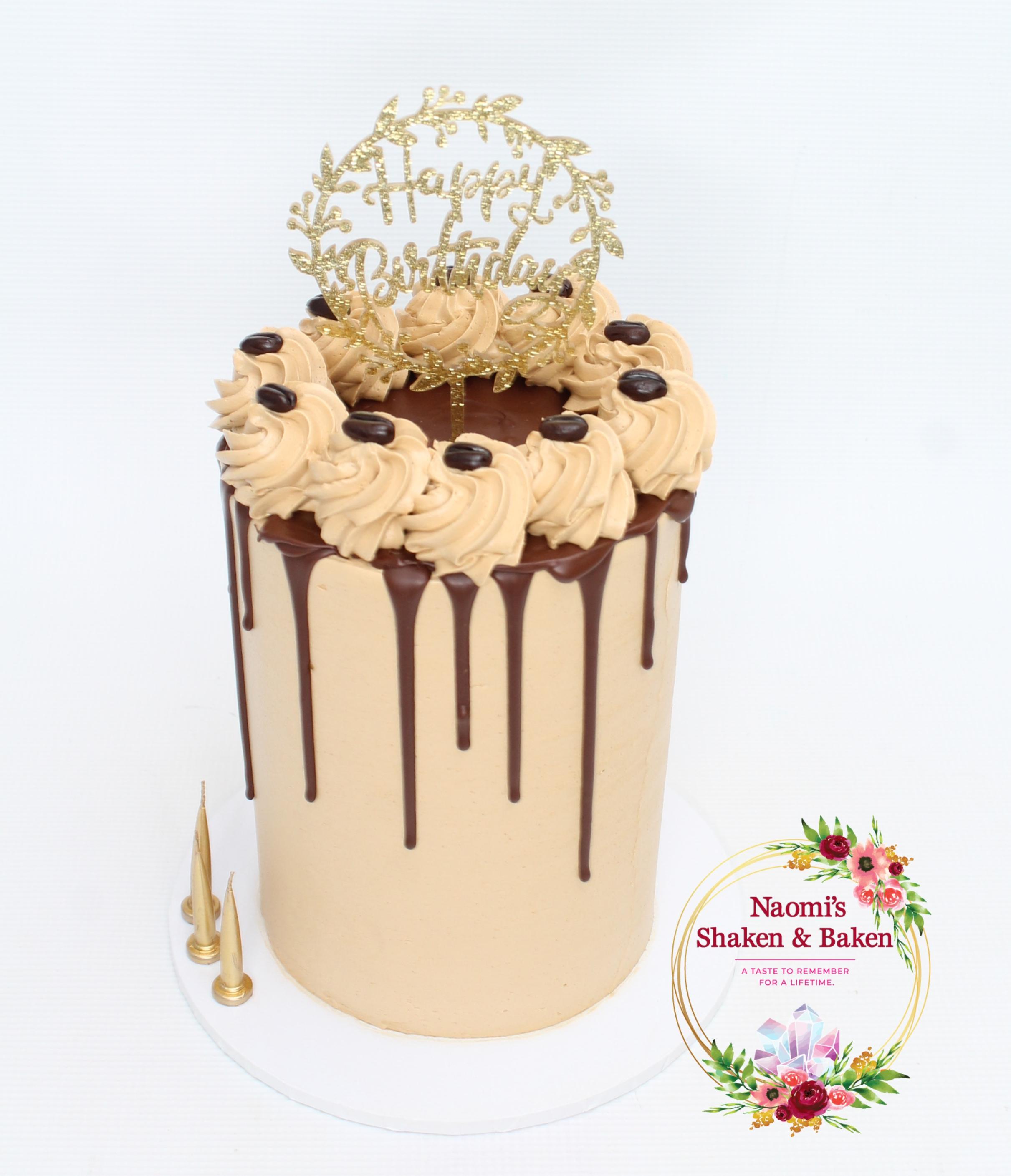 Coffee Kahlua Drip Birthday Cake