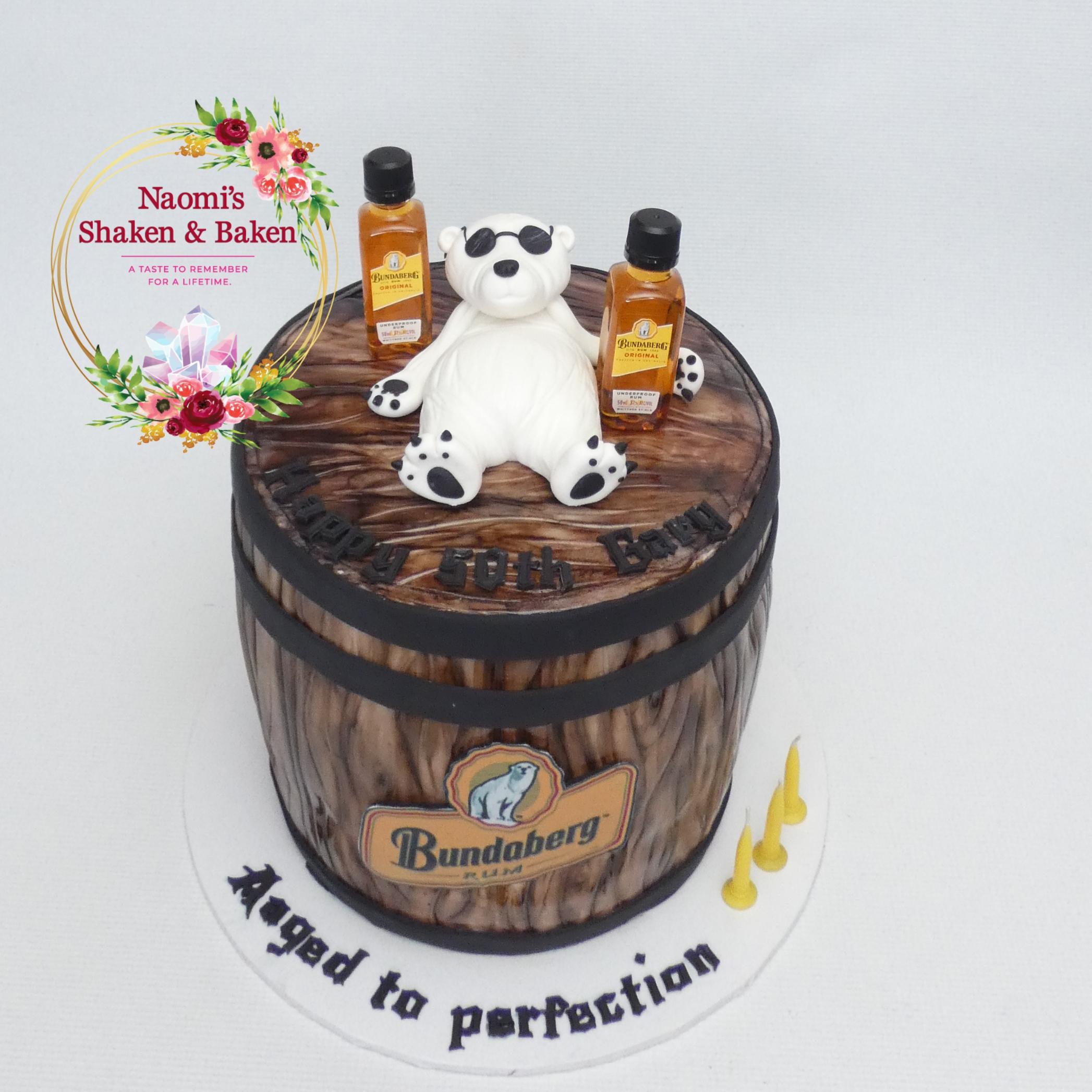 Rum Barrel Cake with Bear 50th