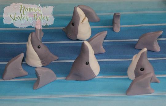 12x Edible Shark Heads Fins Beach Water Fondant Cupcake Topper Decorations