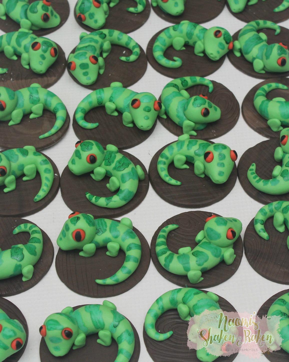 Edible Lizard Cupcake Toppers