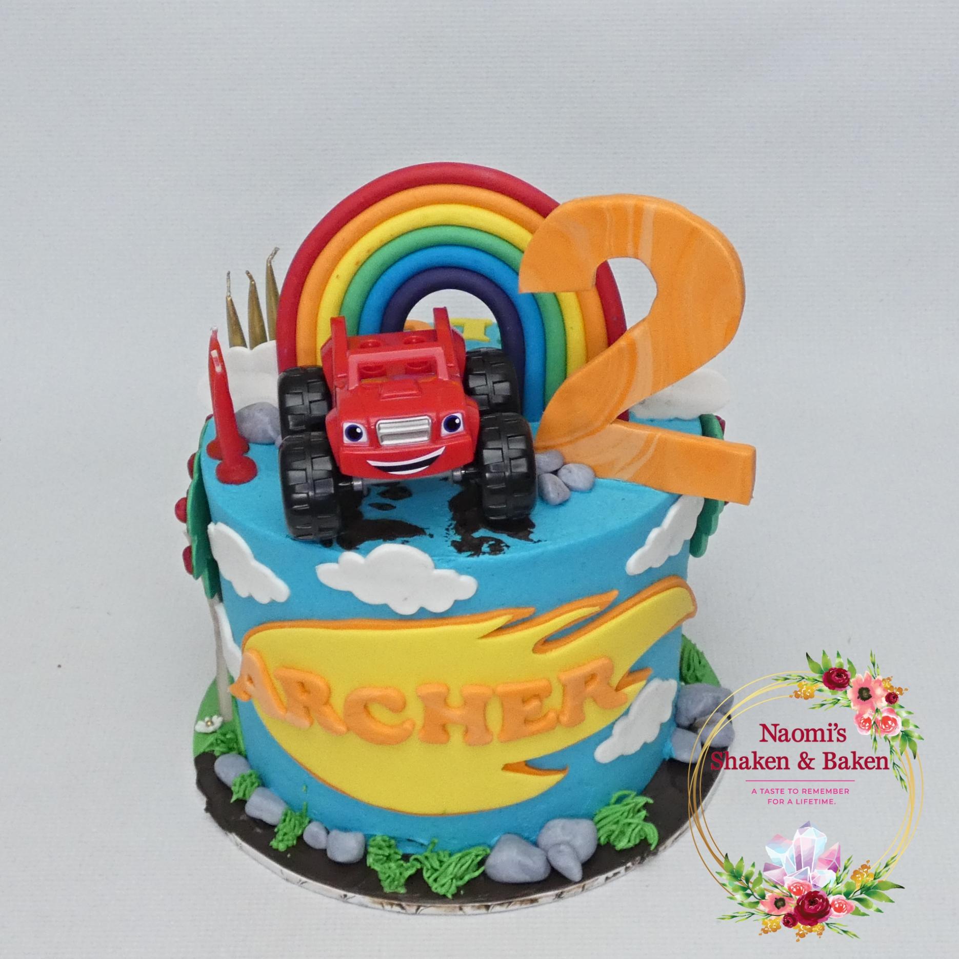 Blaze Truck Themed Half N Half Birthday Cake