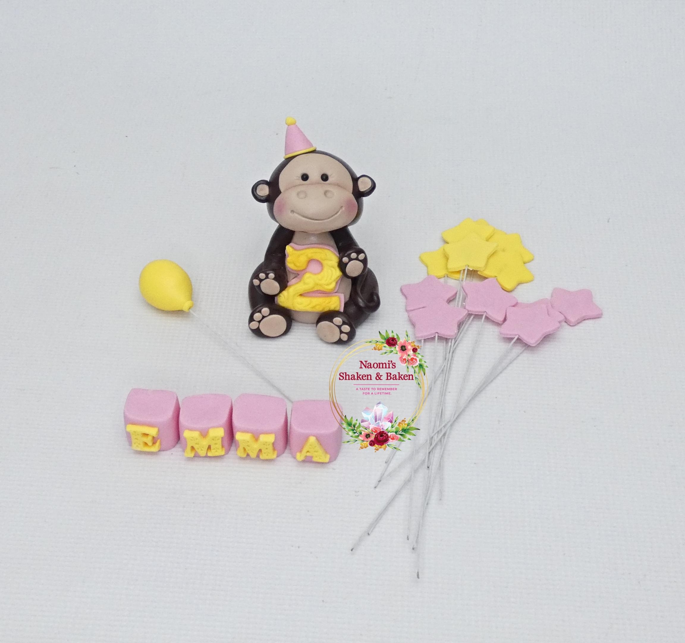 Cute Monkey Edible Cake Topper Set Northlakes