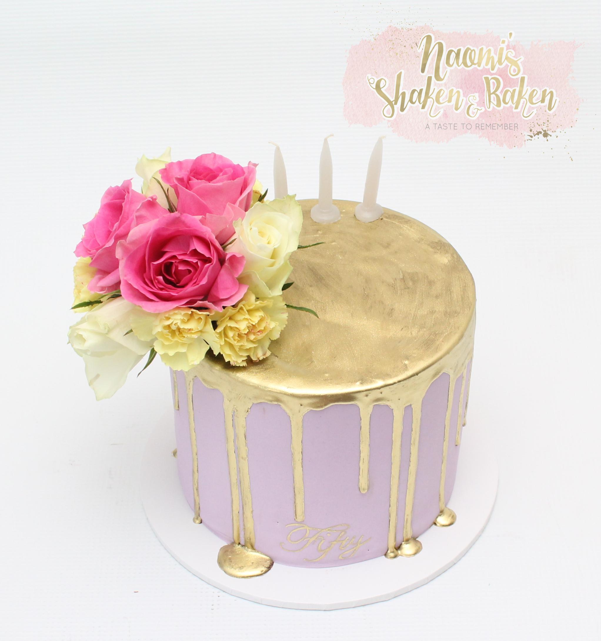 Gold drip birthday cake 50th