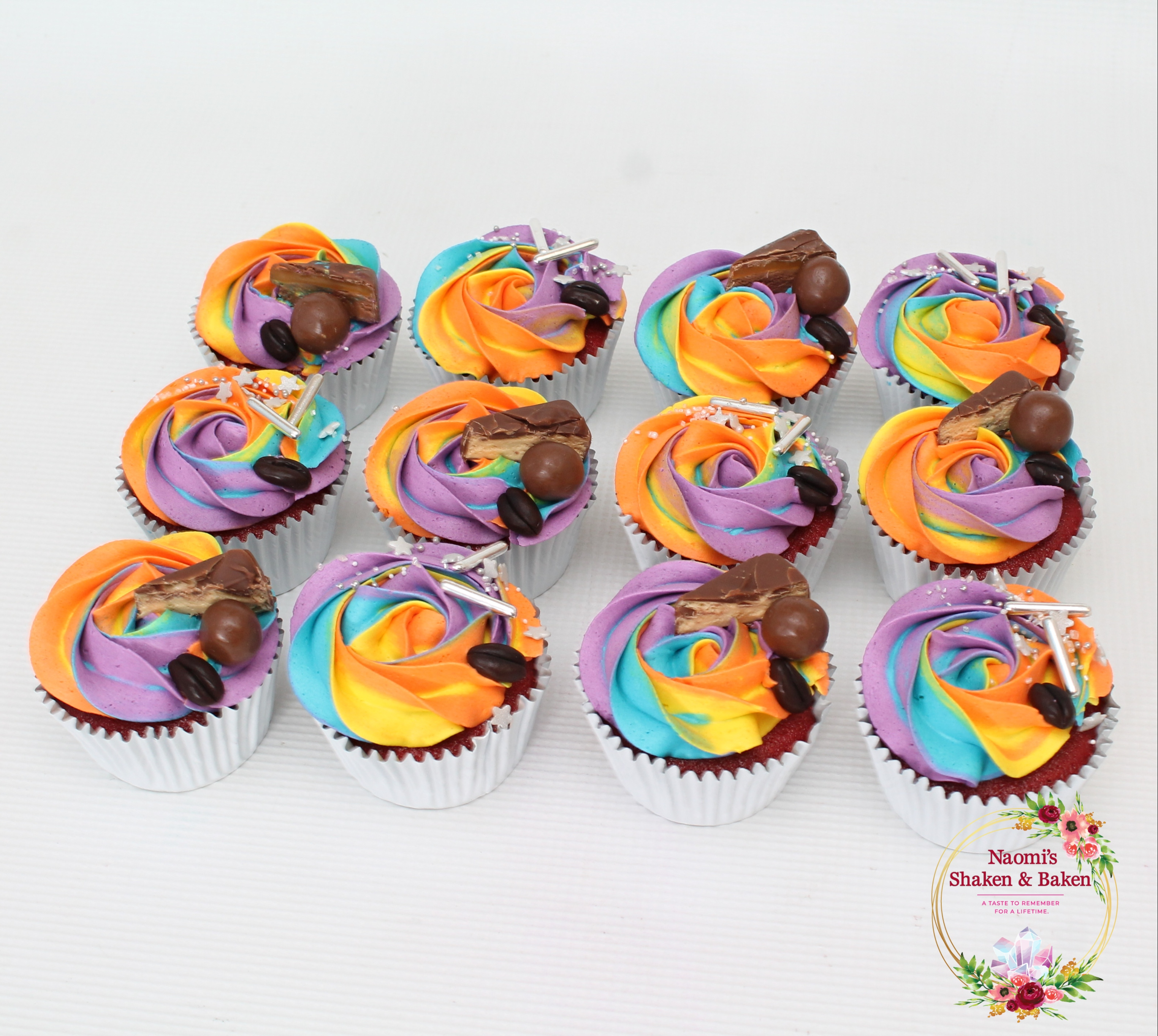 Colourful Red Velvet Cupcakes