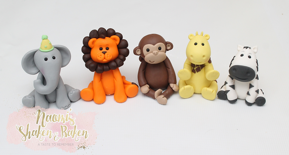5x Edible Jungle Animal Fondant Cake Toppers Zoo Birthday Party Caboolture