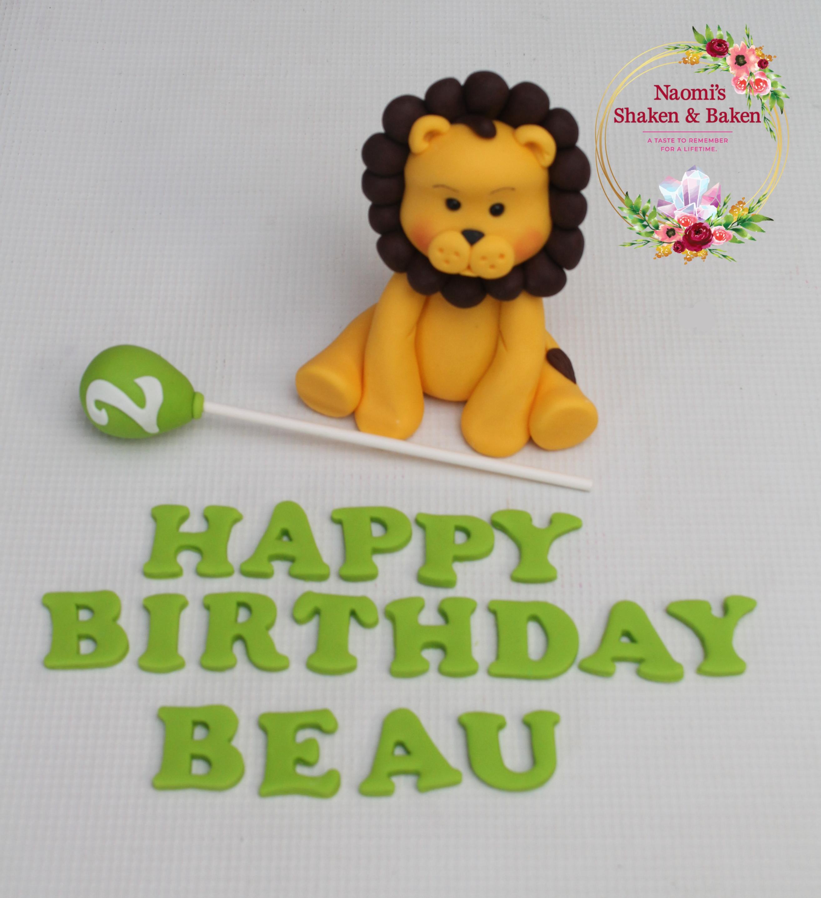 Cute Edible Fondant Lion Cake Topper Set