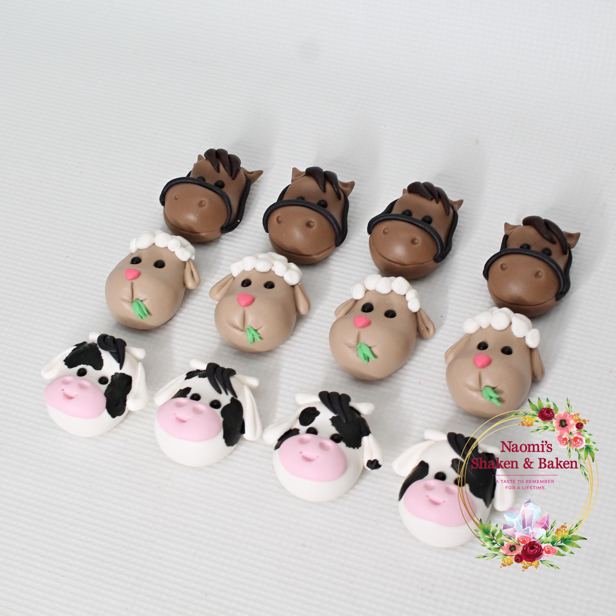 12x Edible Fondant Farm Animal Cupcake Toppers
