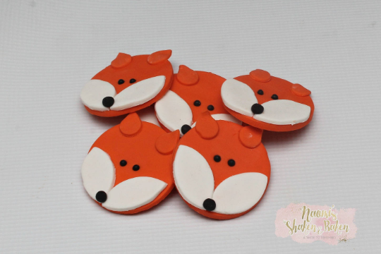 12x Edible Woodland Fox Animals Fondant Cupcake Toppers Ship Australia Wide