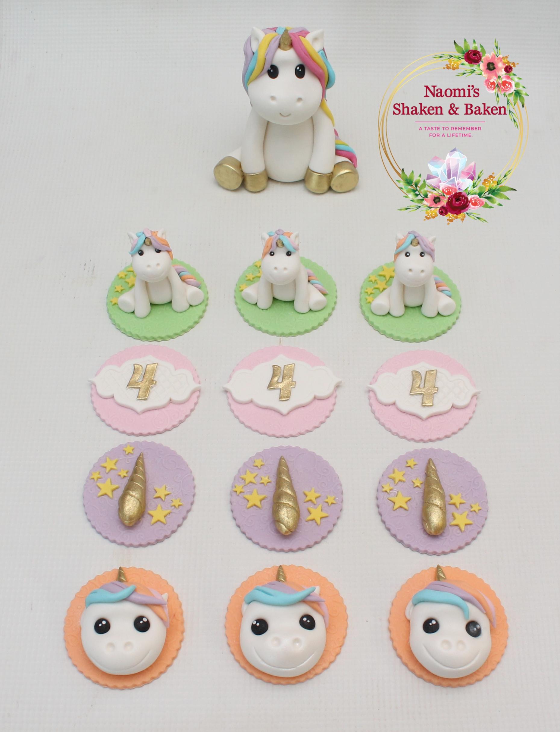 Cute Edible Fondant Unicorn Set