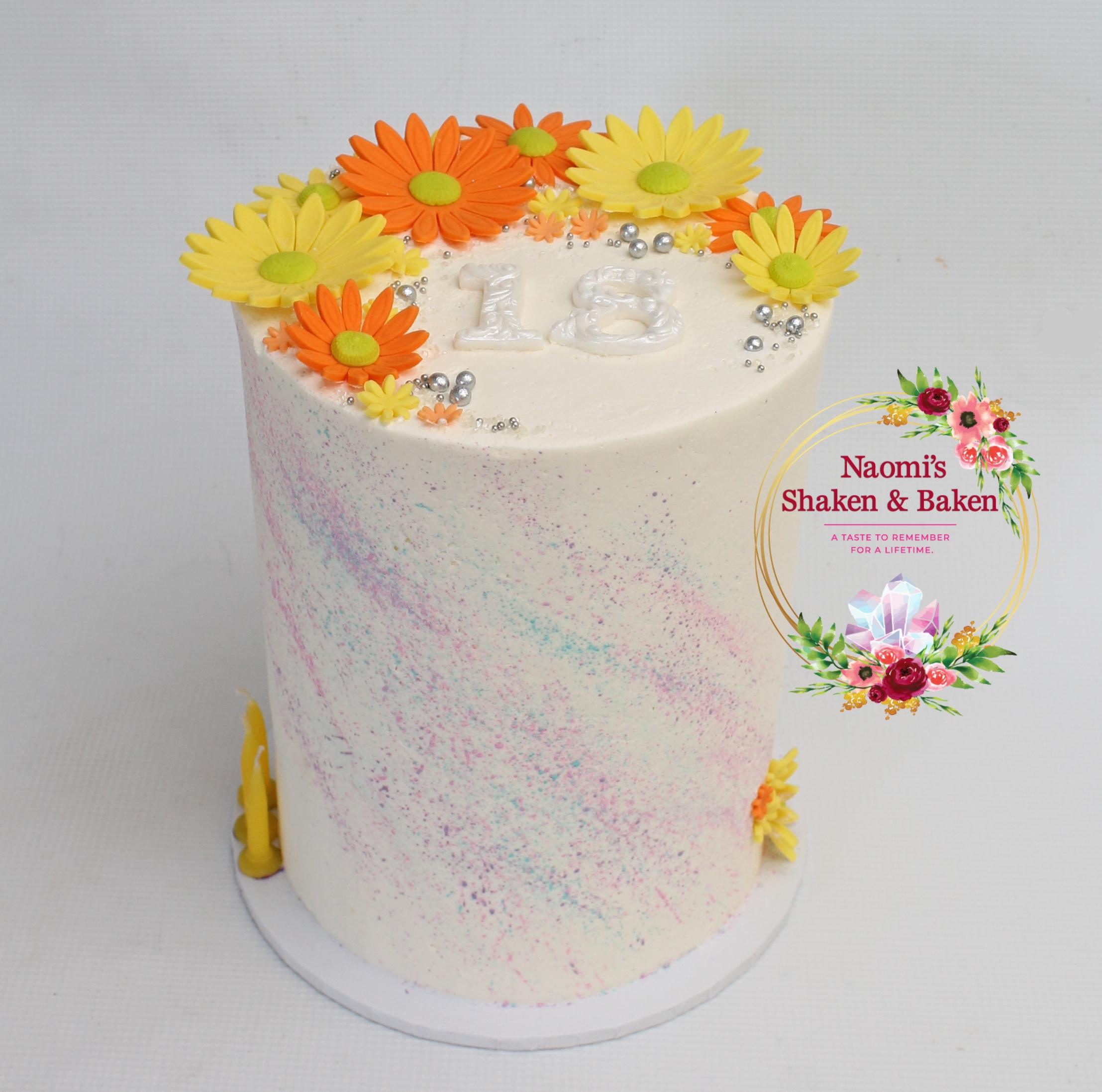 Flower power 18th birthday cake