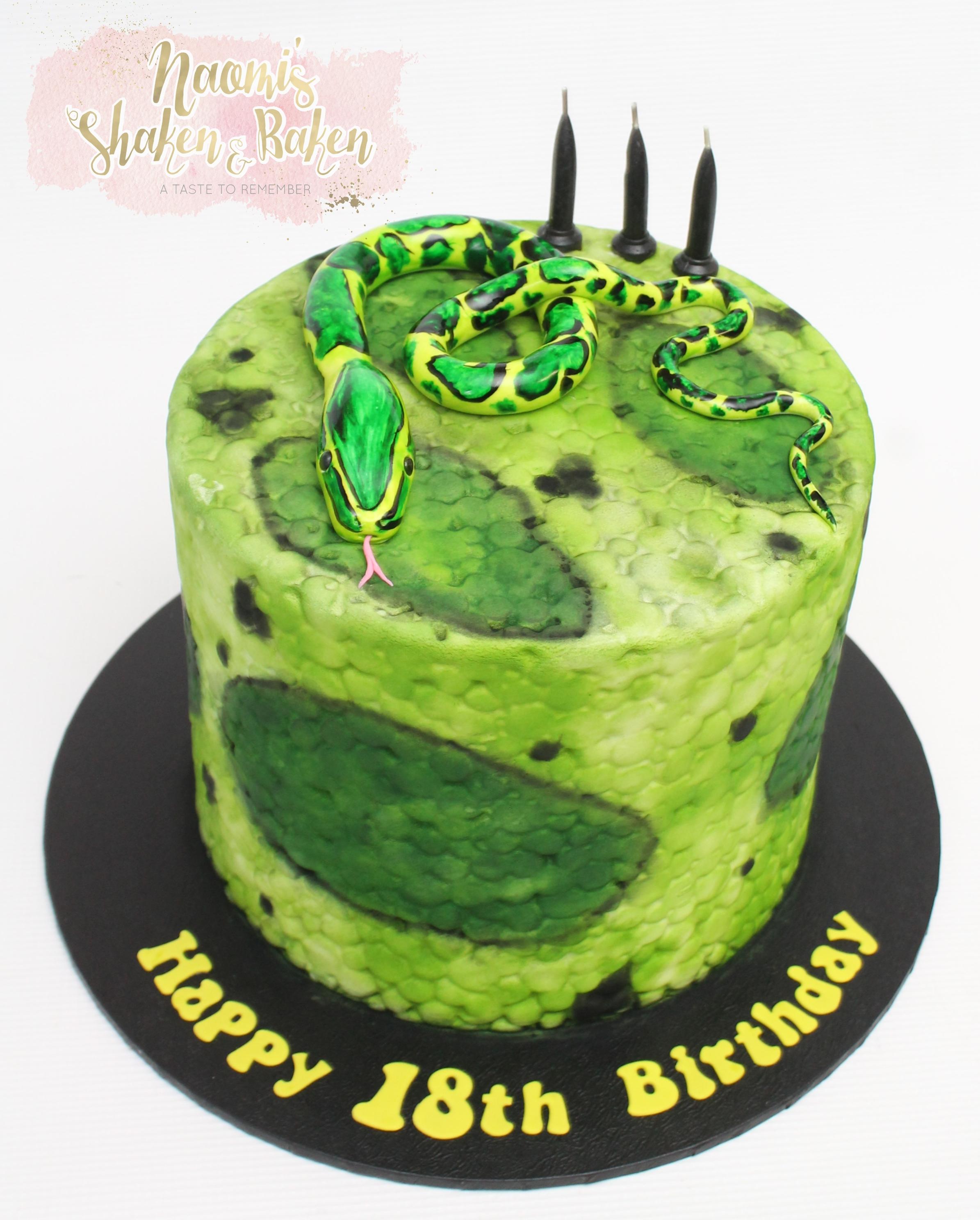 Snake reptile 18th birthday cake