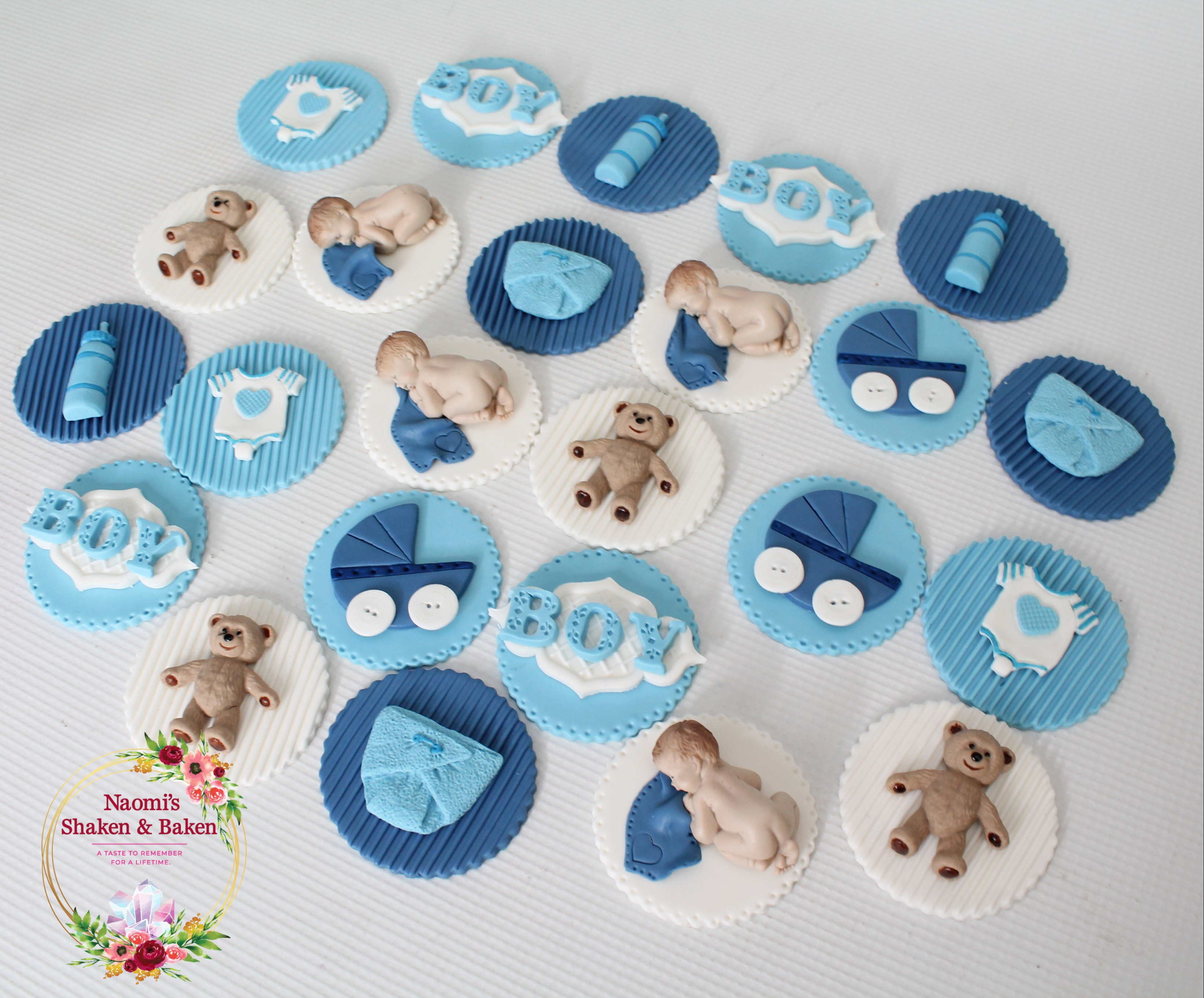 Edible Boy Baby Shower Cupcake Toppers Caboolture