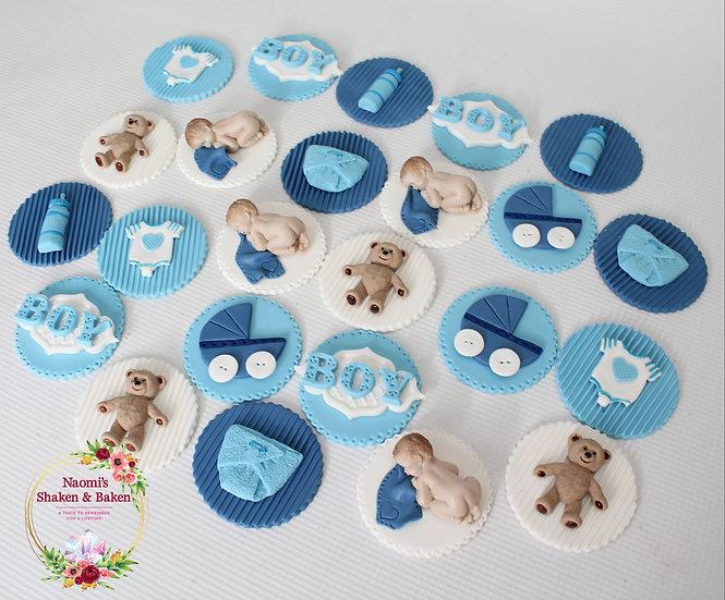 12x Edible Cute Boy Baby Shower Fondant Cupcake Toppers Caboolture Australia