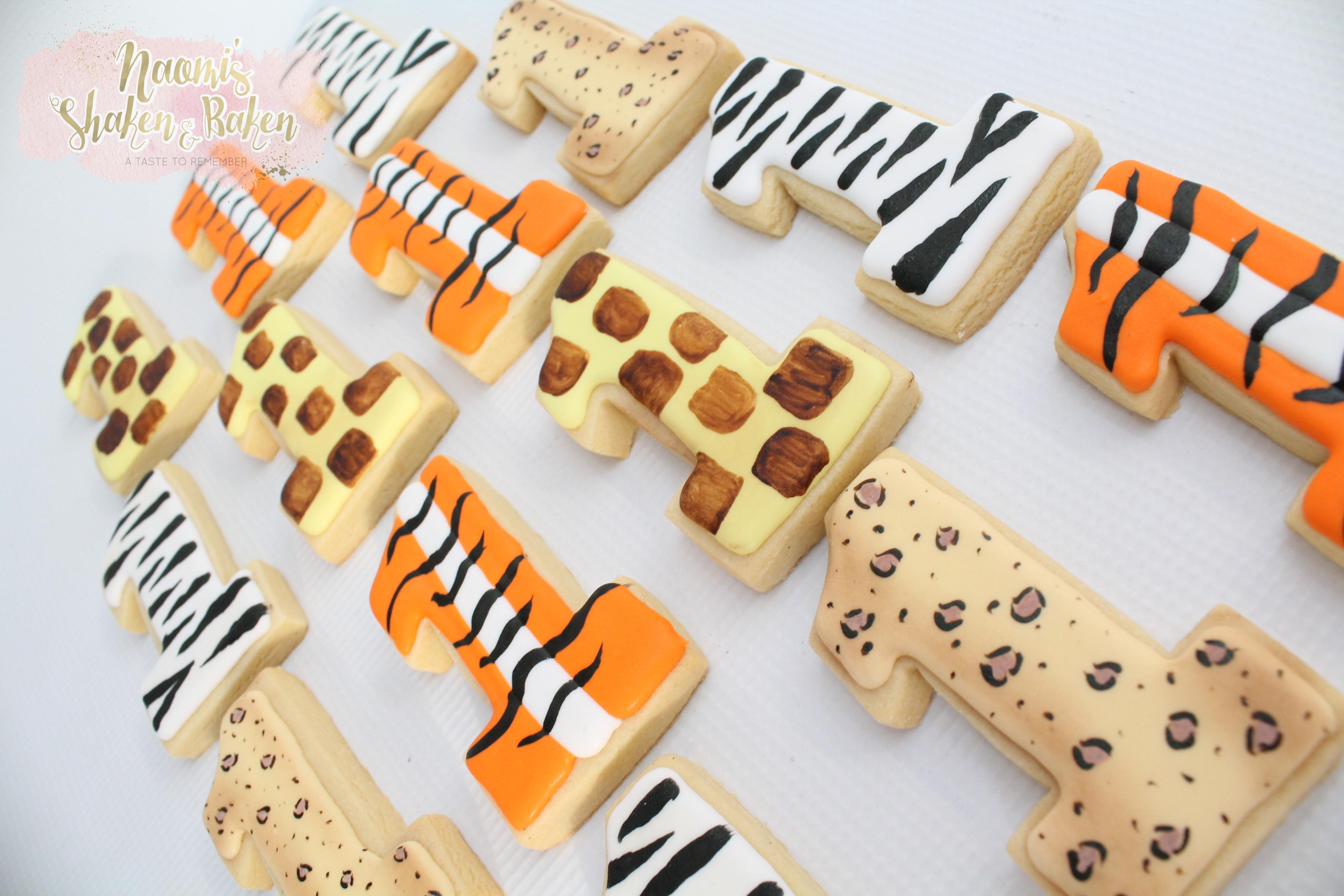 Royal Icing Jungle Print Cookies