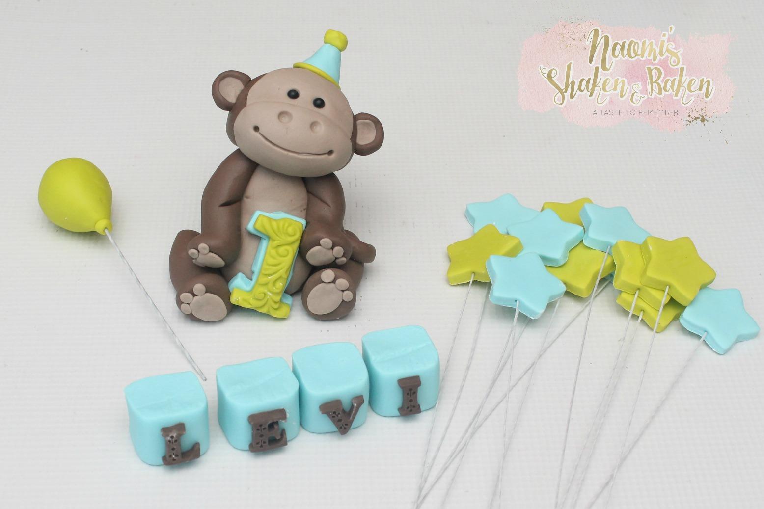 Monkey cake topper set