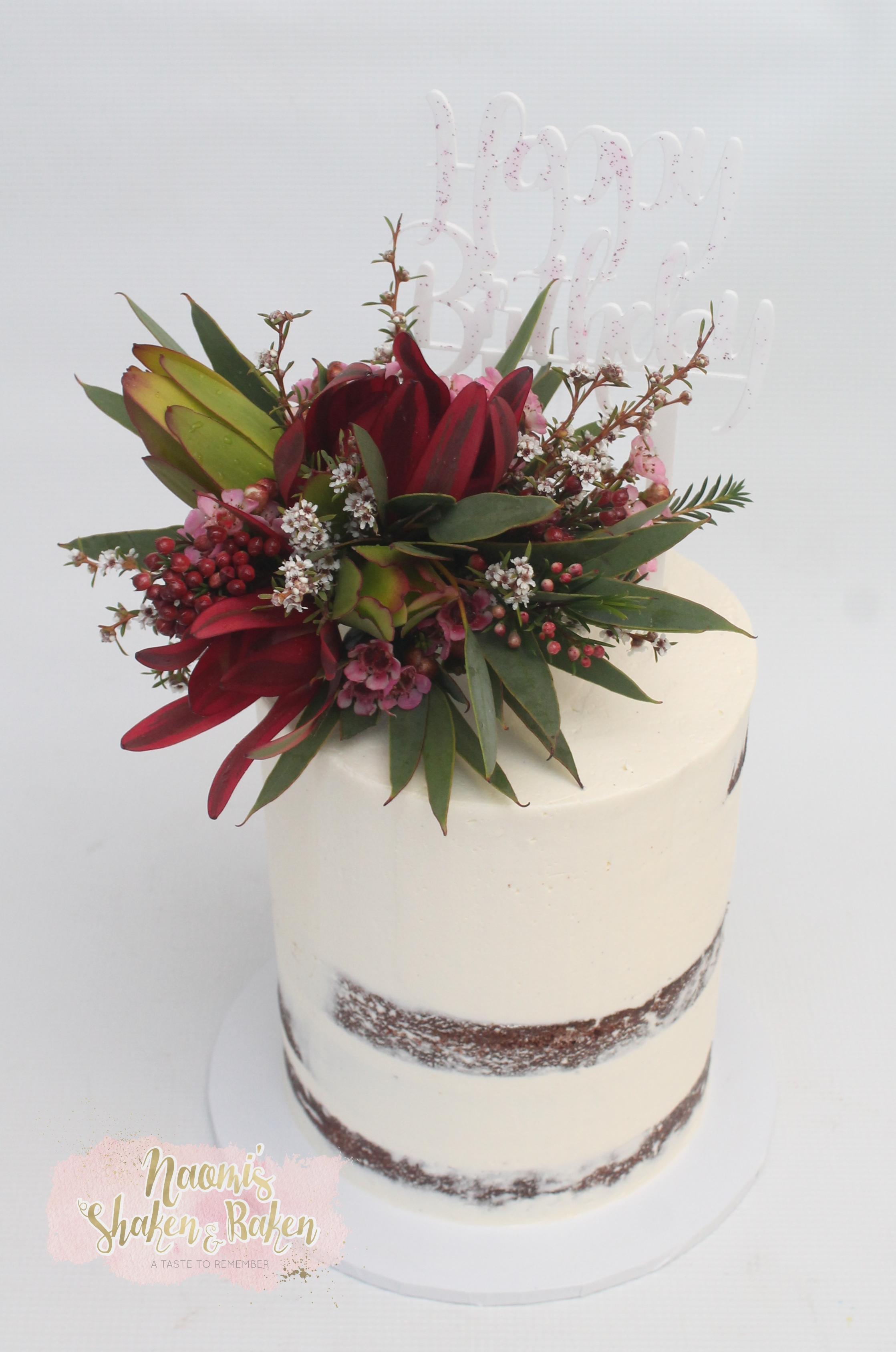 Semi naked native flowers cake