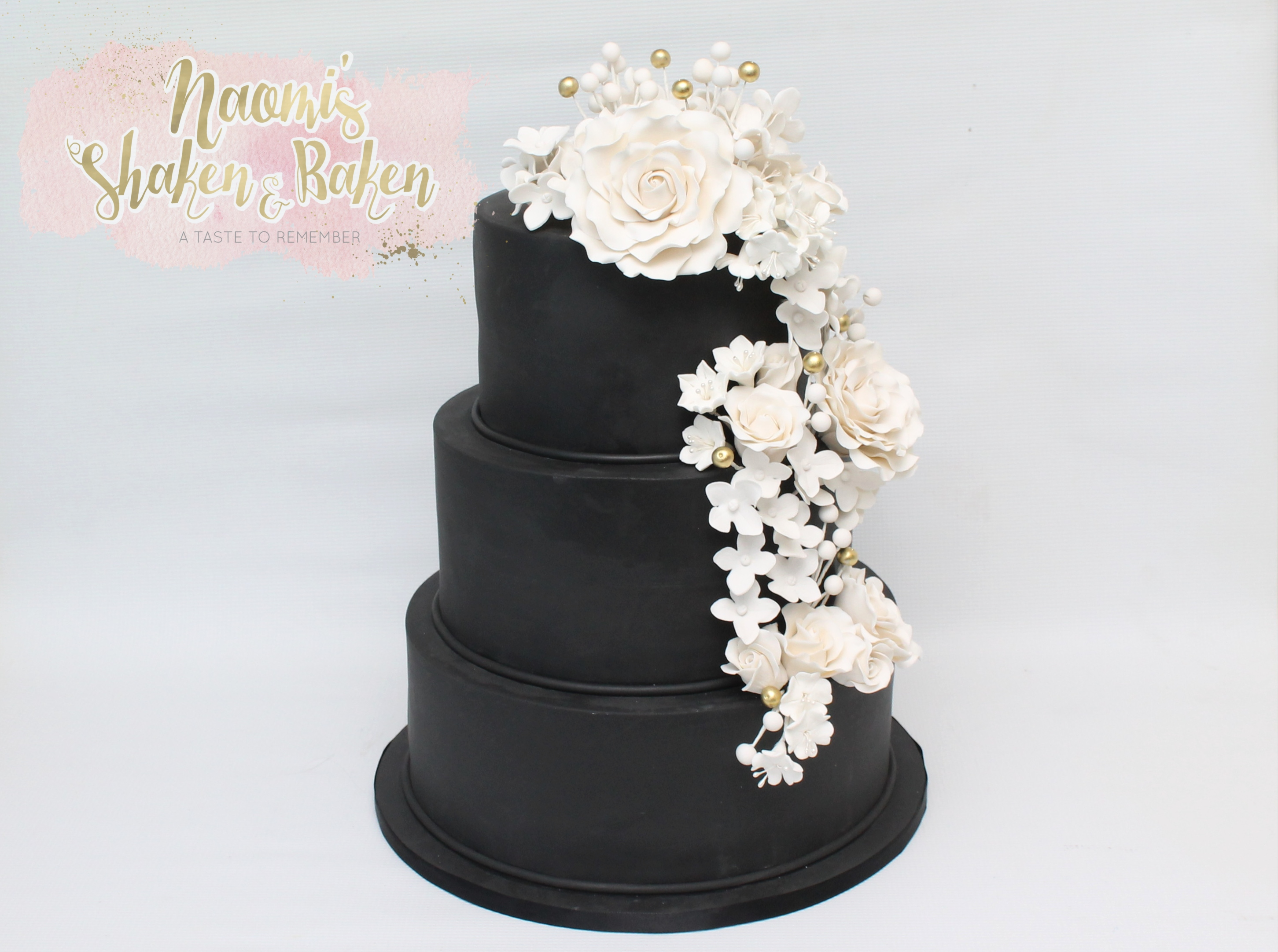 Black and white wedding cake