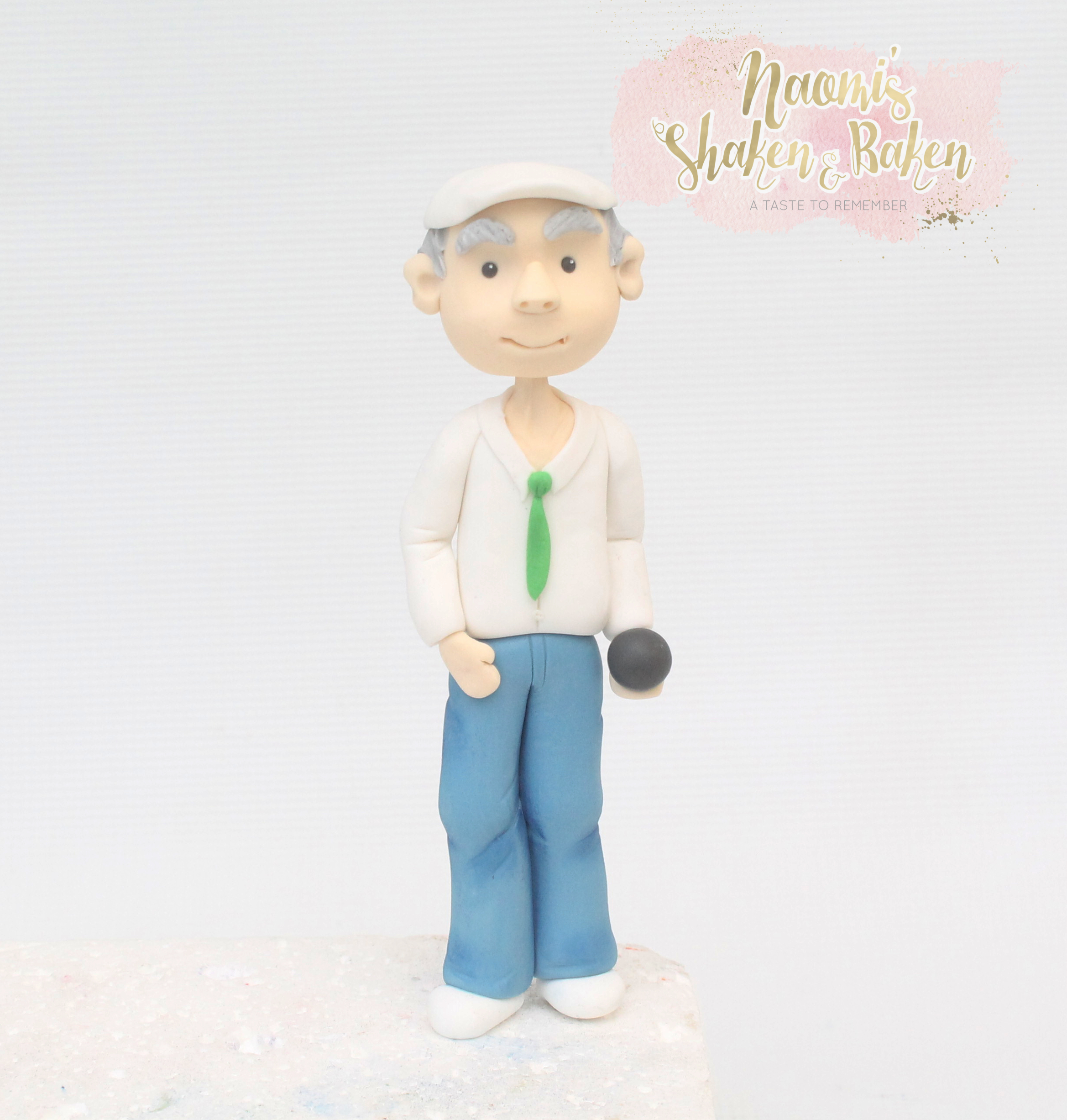 Old man bowling cake topper