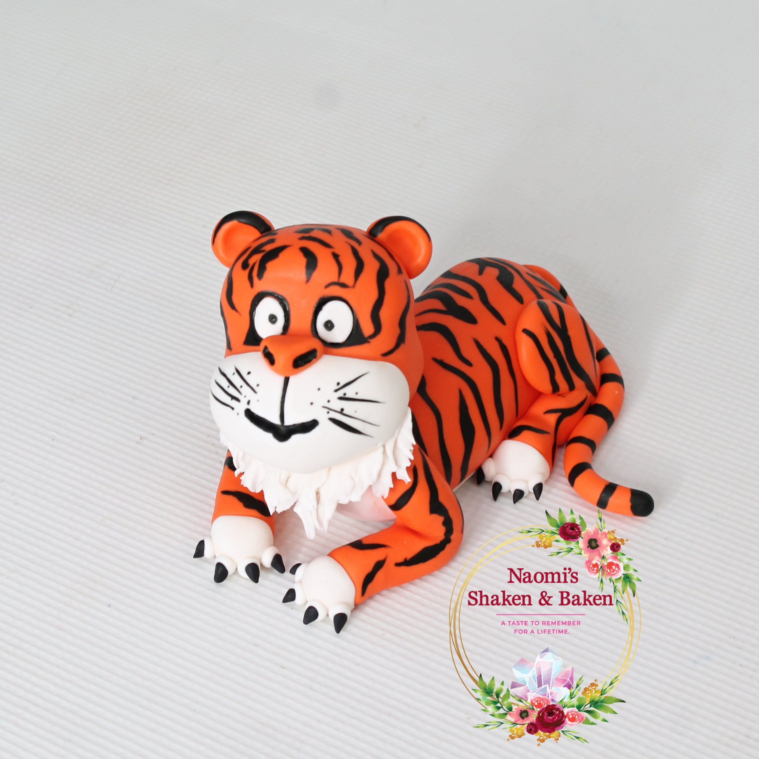 3D Handmade Edible Fondant Tiger Cake Toppper