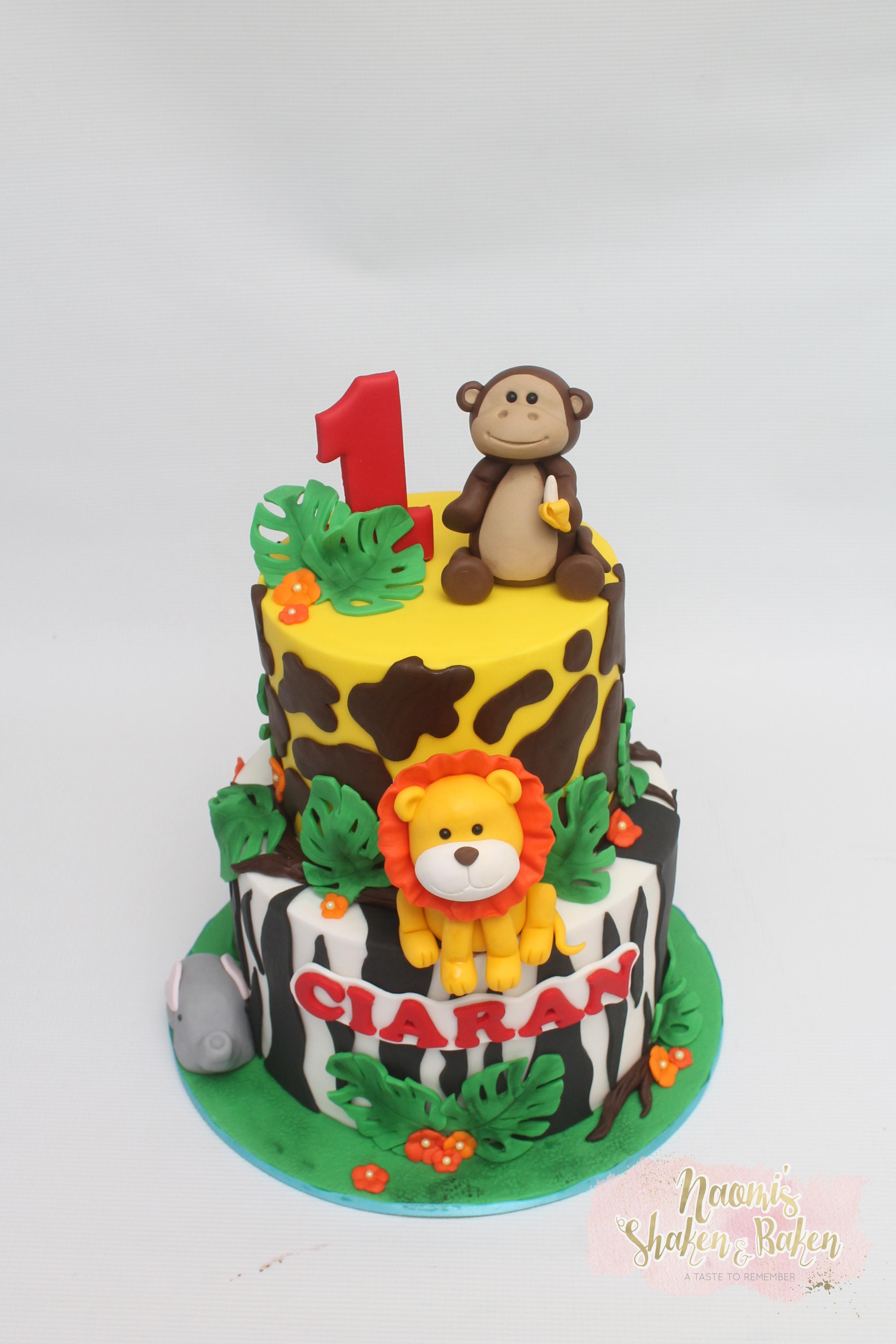 Jungle Animal 1st Birthday Cake