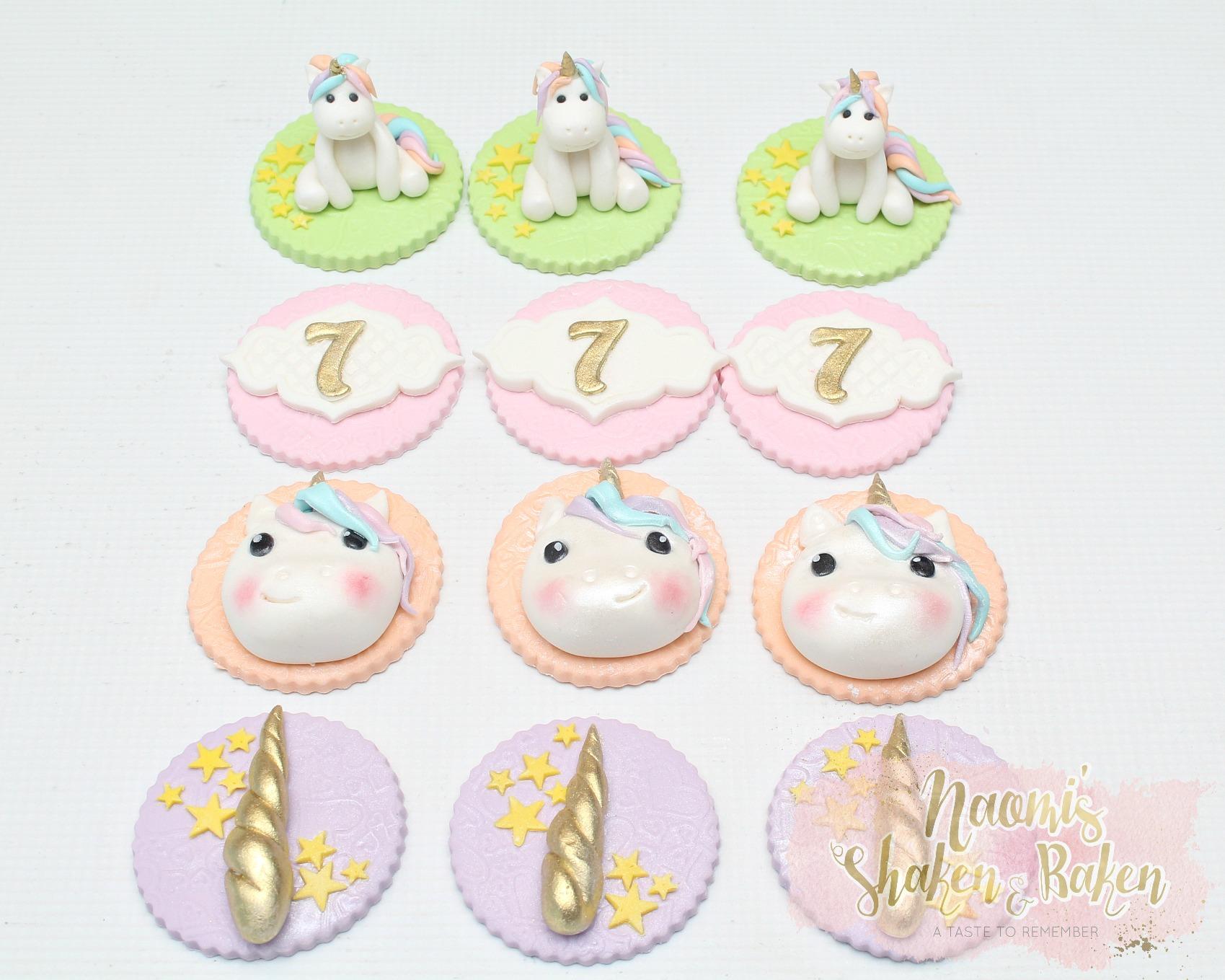 Cute Edible Fondant Unicorn Cupcake Toppers