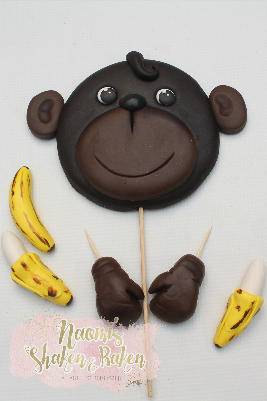 cute monkey cake topper set