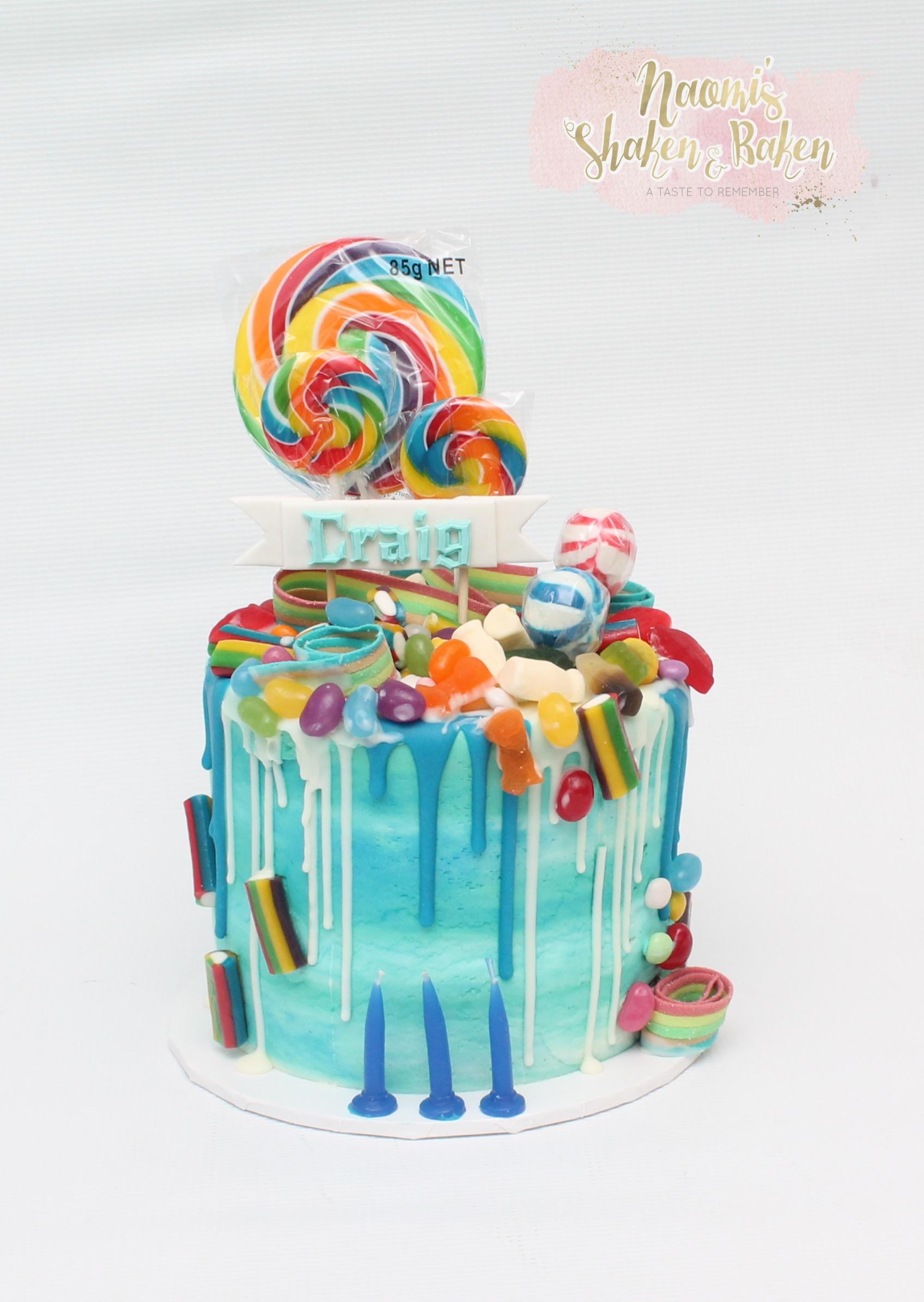Birthday drizzle lollie cake