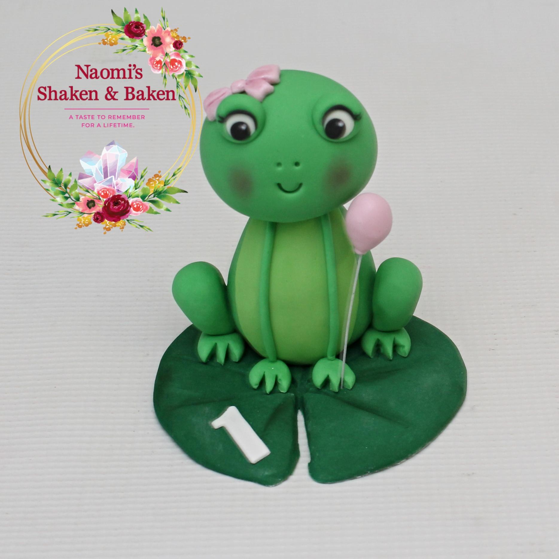 Cute Edible Fondant Girl Frog Cake Topper