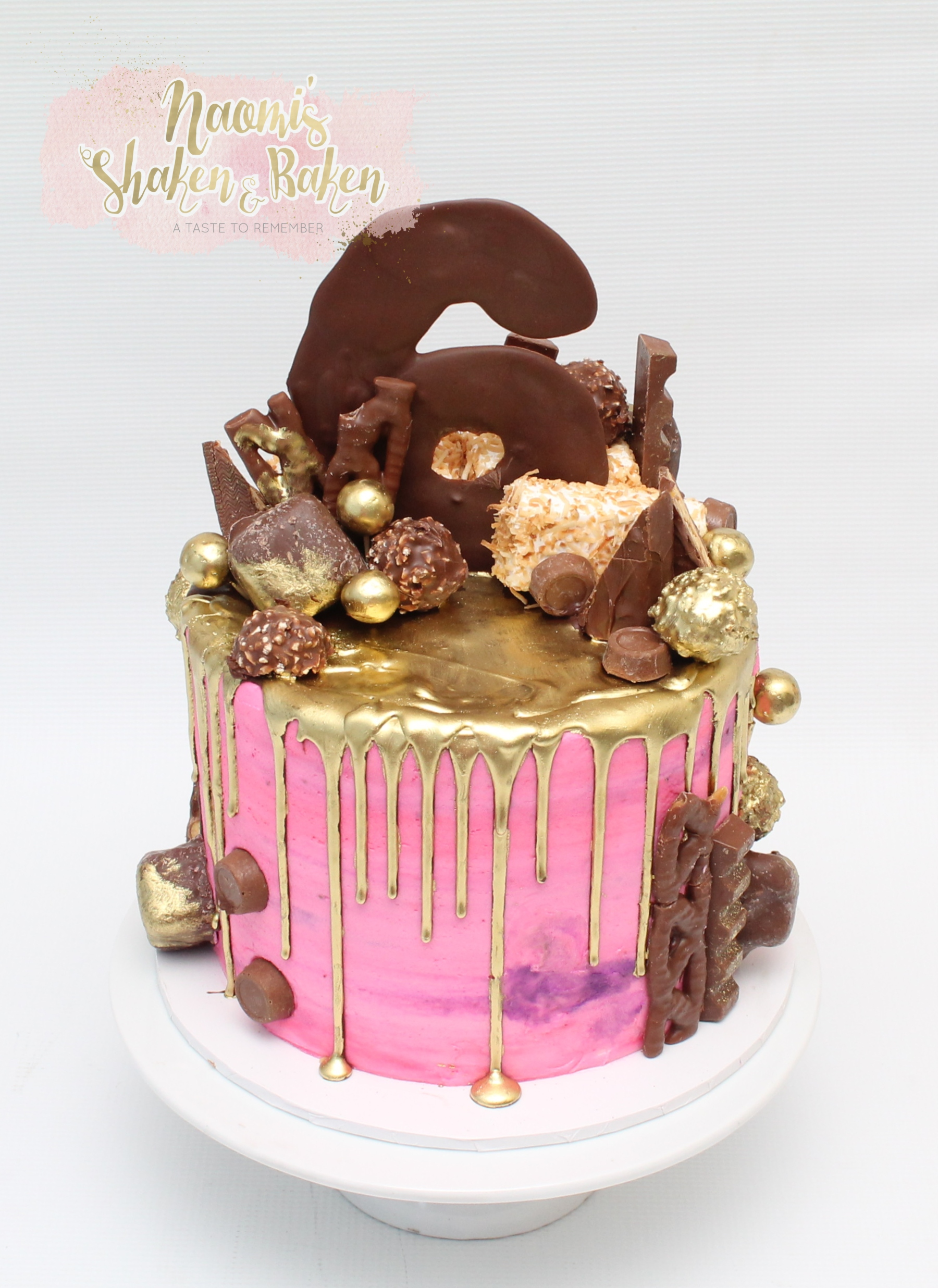 pink & gold drizzle cake