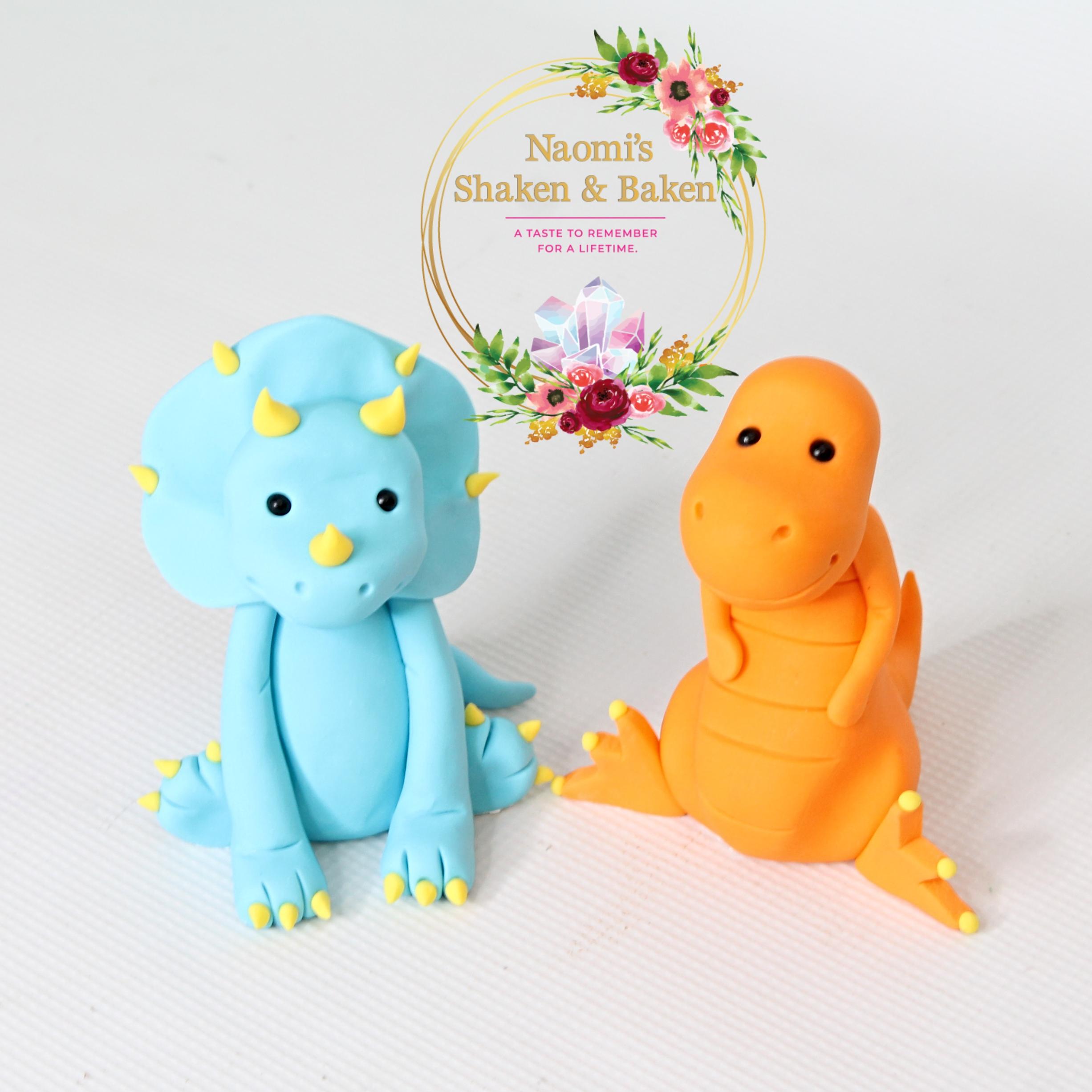 Cute Edible Fondant Dinosaur Cake Toppers