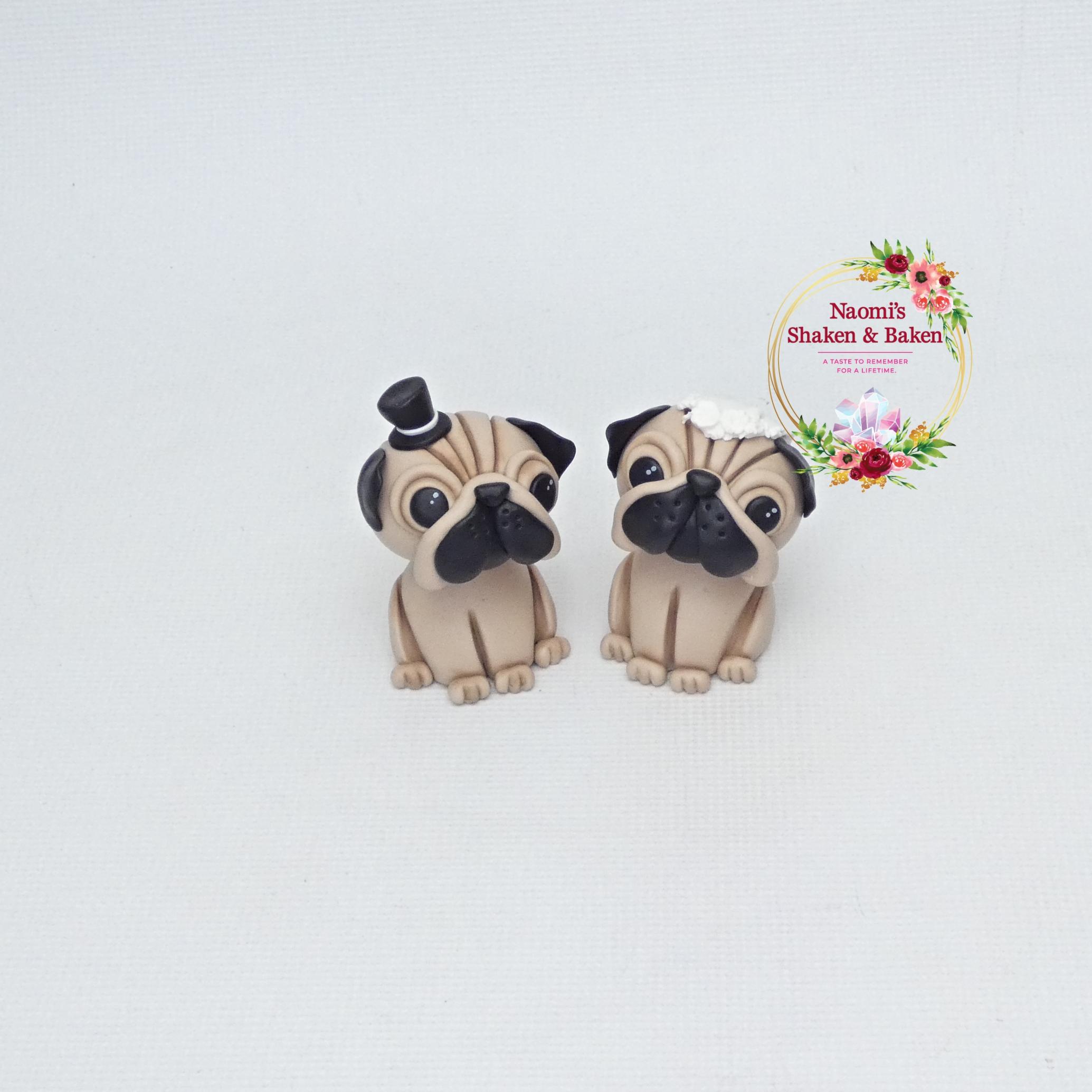 Cute Pug Dog Cake Toppers