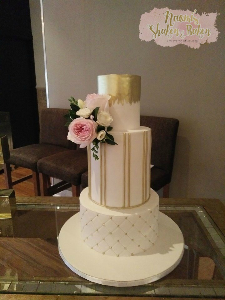 Gold and white wedding cake brisbane