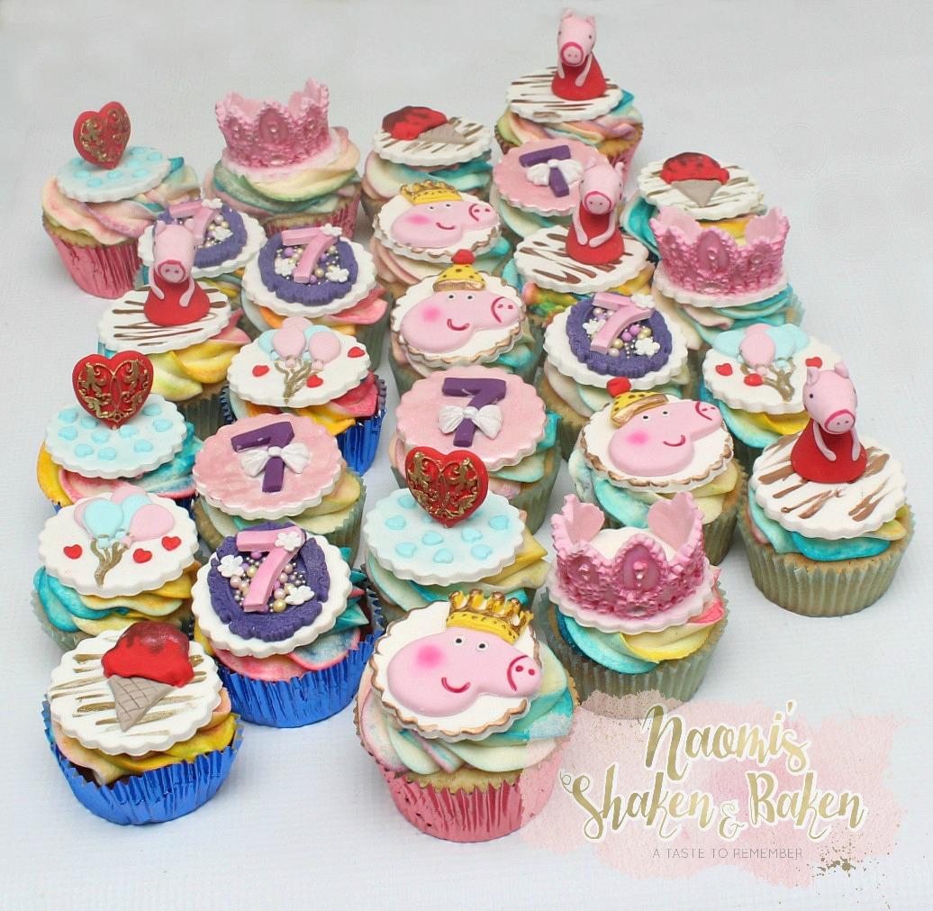 Princess peppa pig birthday cupcakes