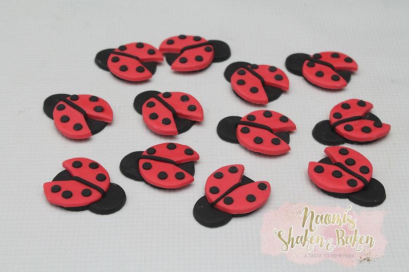 12x Edible Ladybugs Lady Beetle Fondant Cupcake Toppers Ship Australia Wide