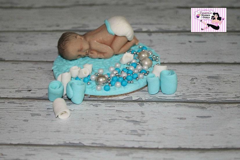 Edible Sugar Baby Baby Shower Fondant Cake Topper