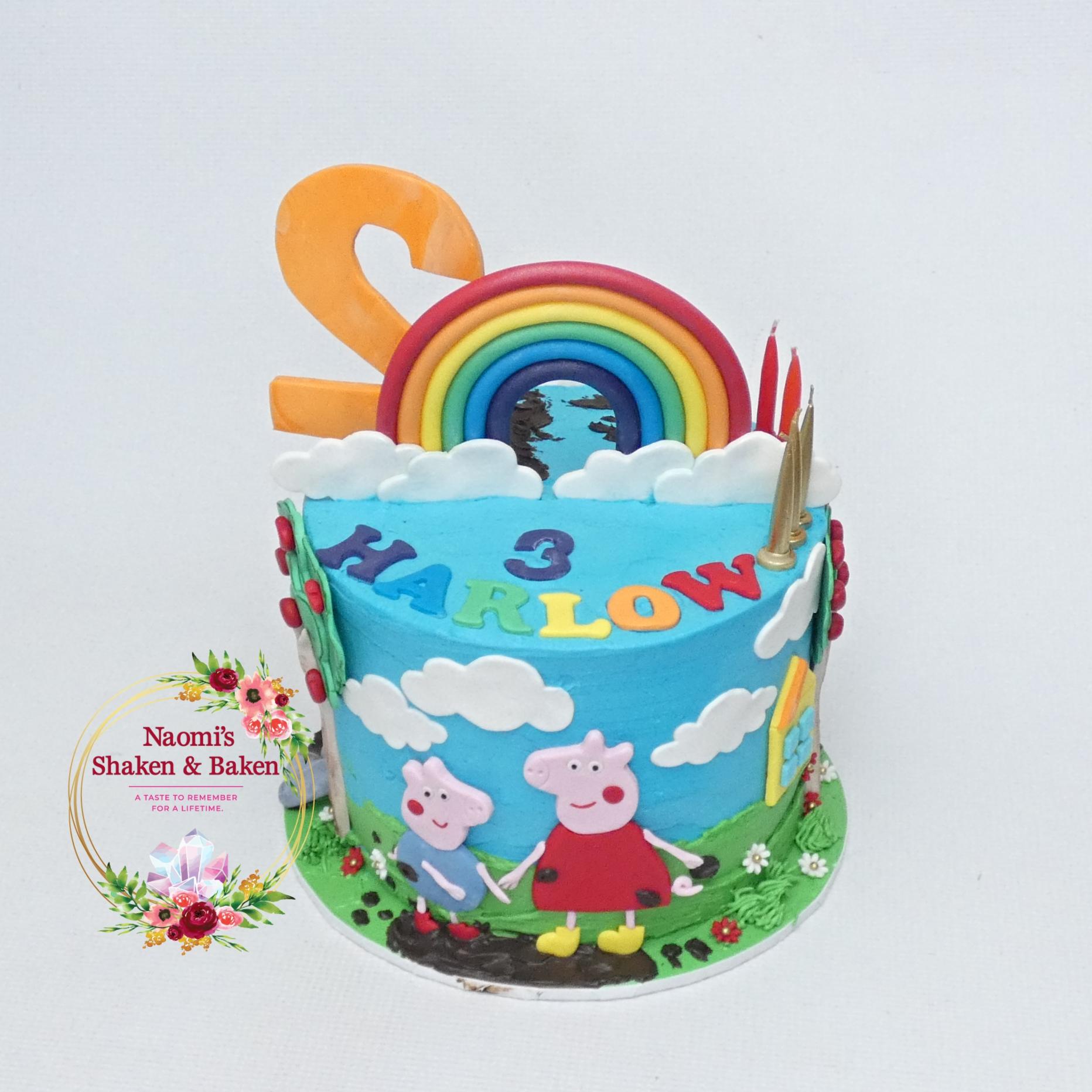Peppa Pig Half N Half Themed Birthday Cake