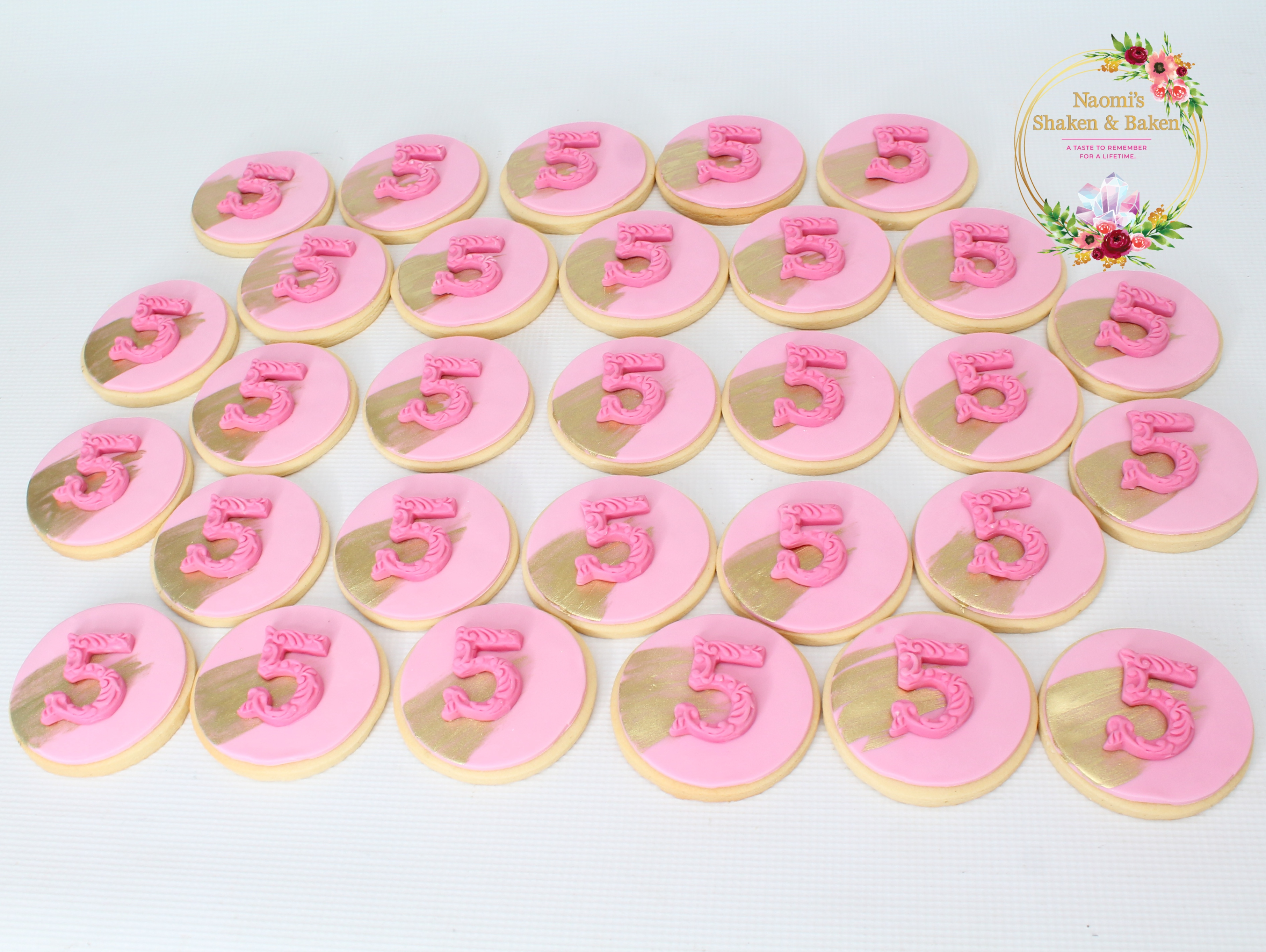 Pink & Gold Cookies with Age