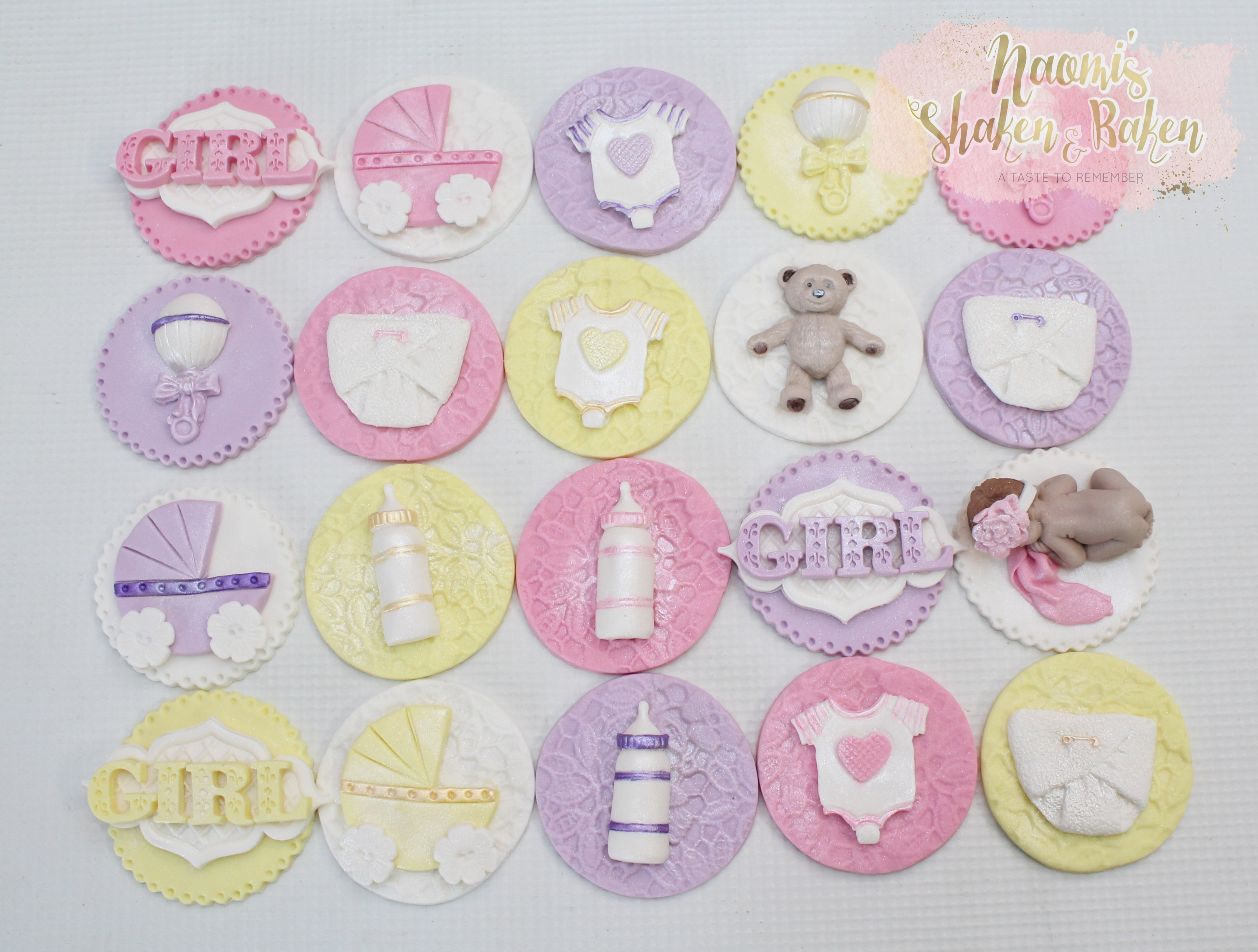 Girl baby shower cupcake toppers