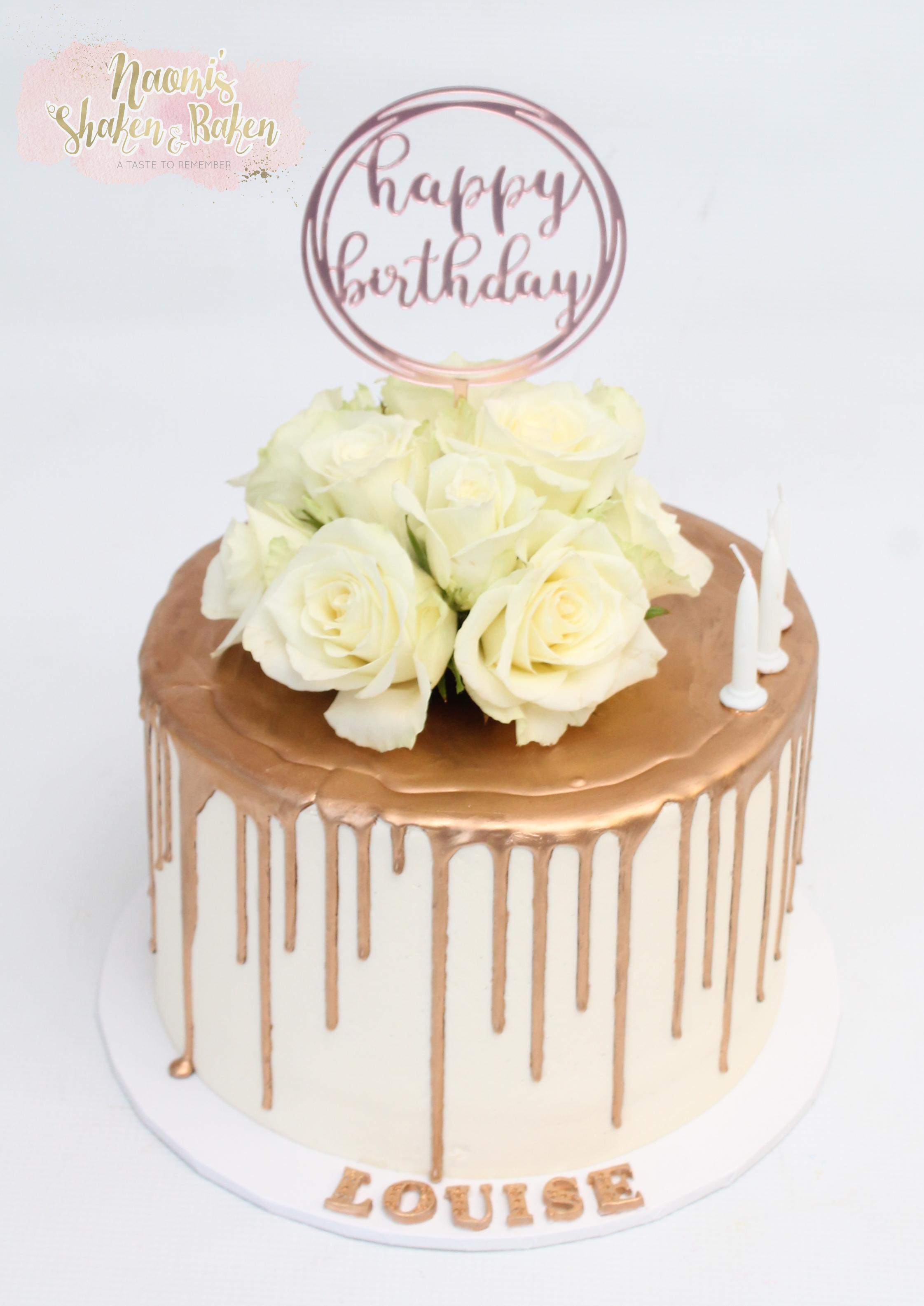 50th 60th bronze drip cake